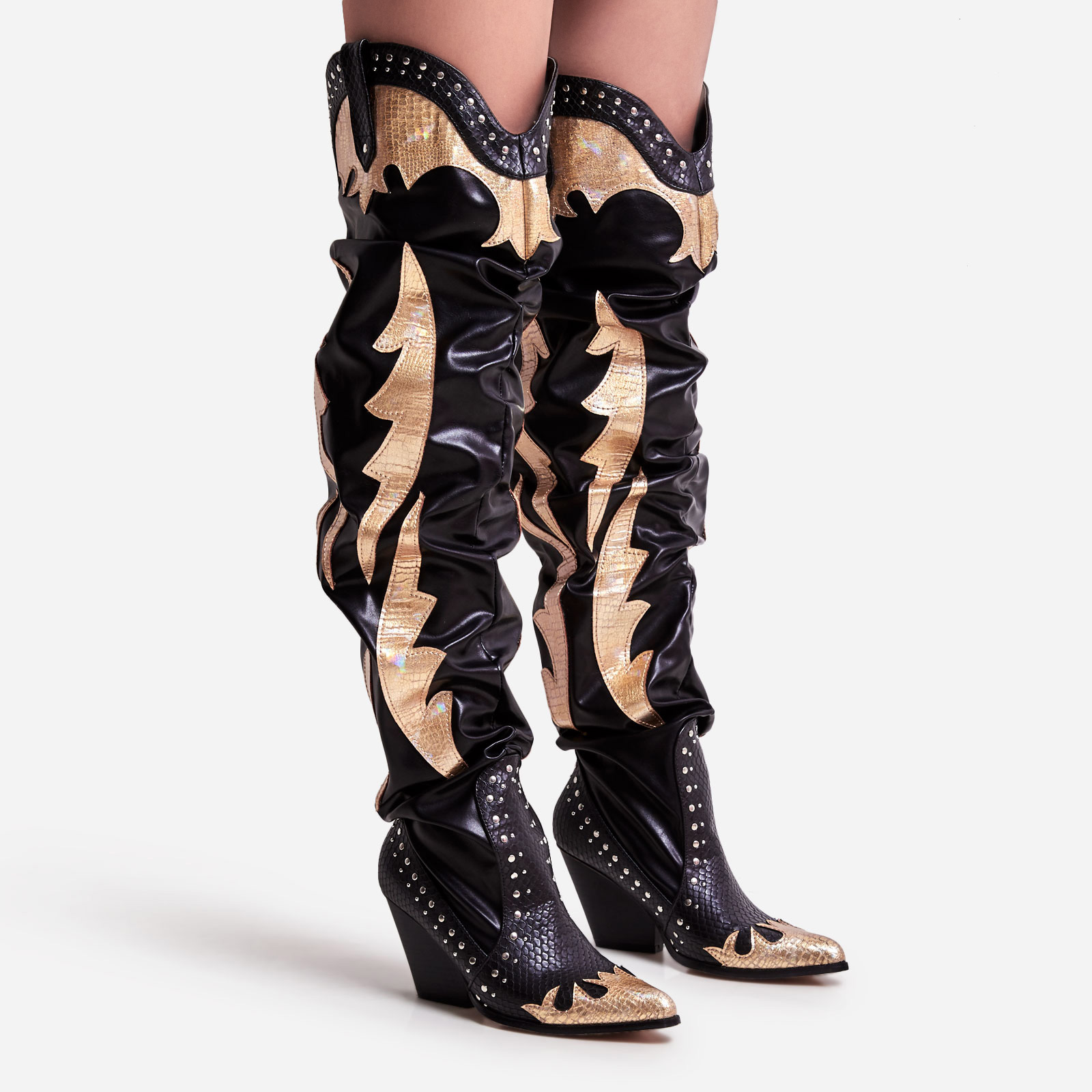 Sunset Studded Detail Reptile Print Western Thigh High Long Boot In Black Faux Leather