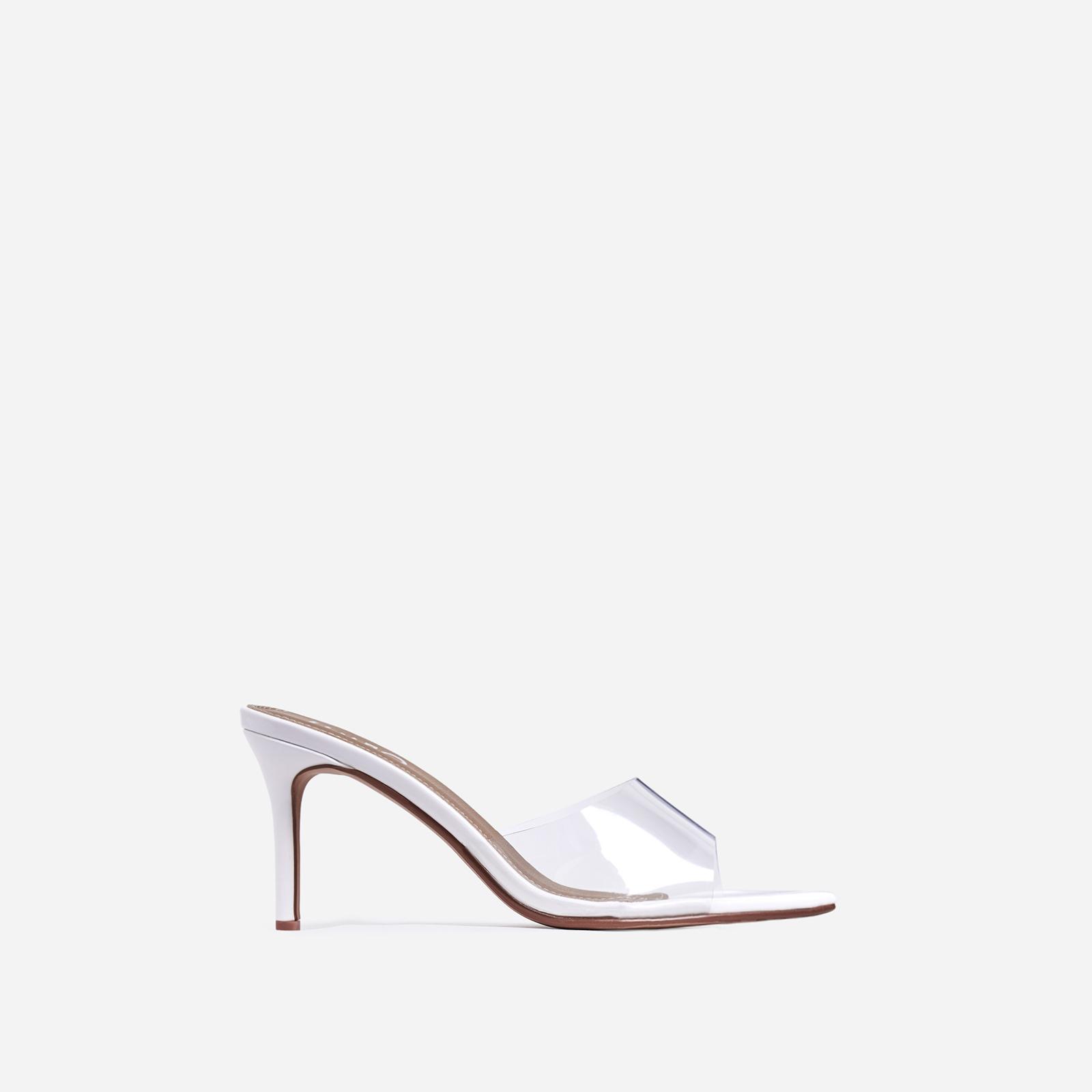 Maelle Pointed Peep Toe Perspex Heel Mule In White Patent