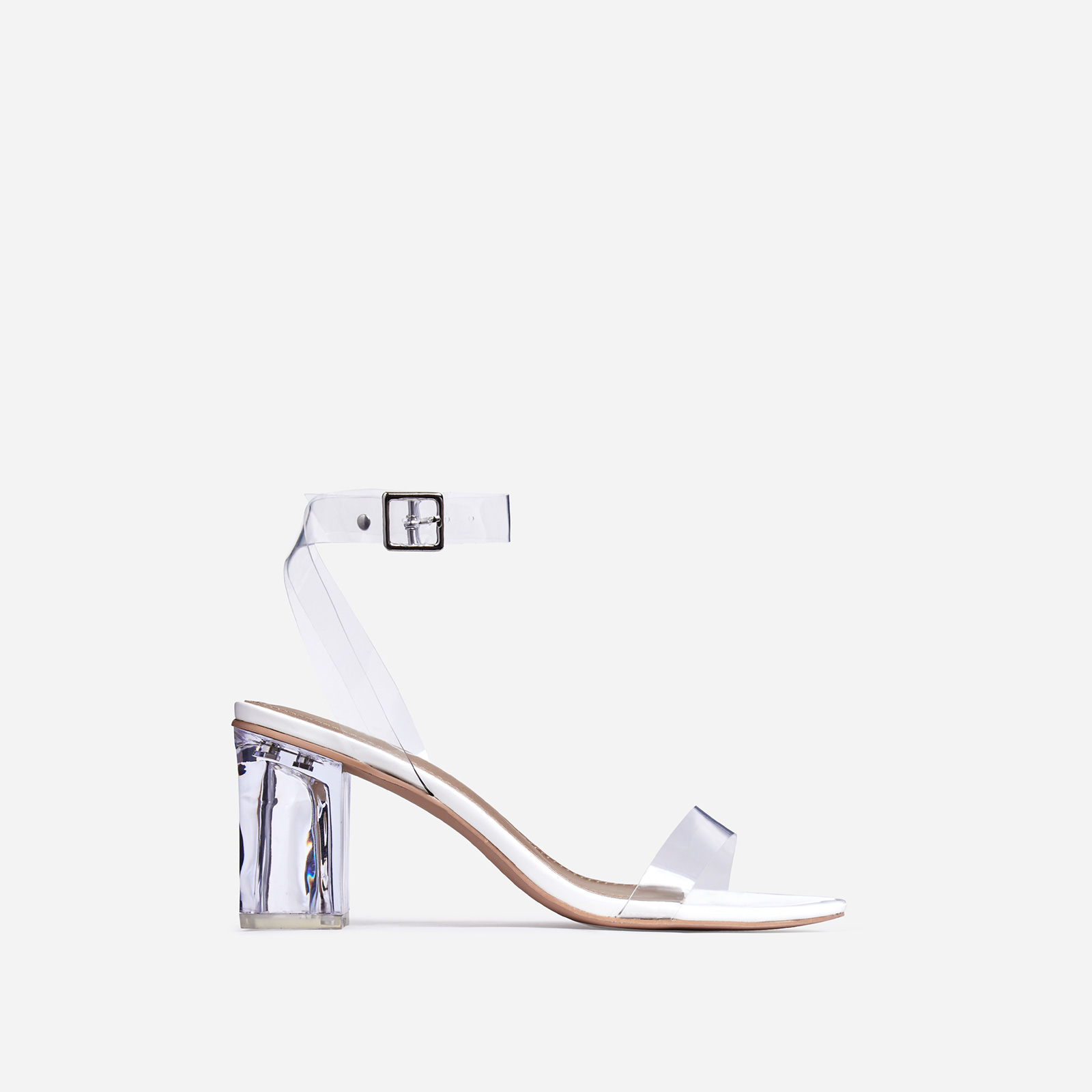 Lena Barely There Perspex Block Heel In White Patent