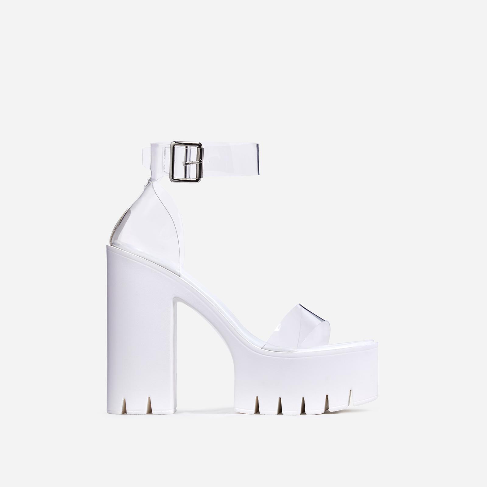 Stormi Perspex Platform Cleated Sole Block Heel In White