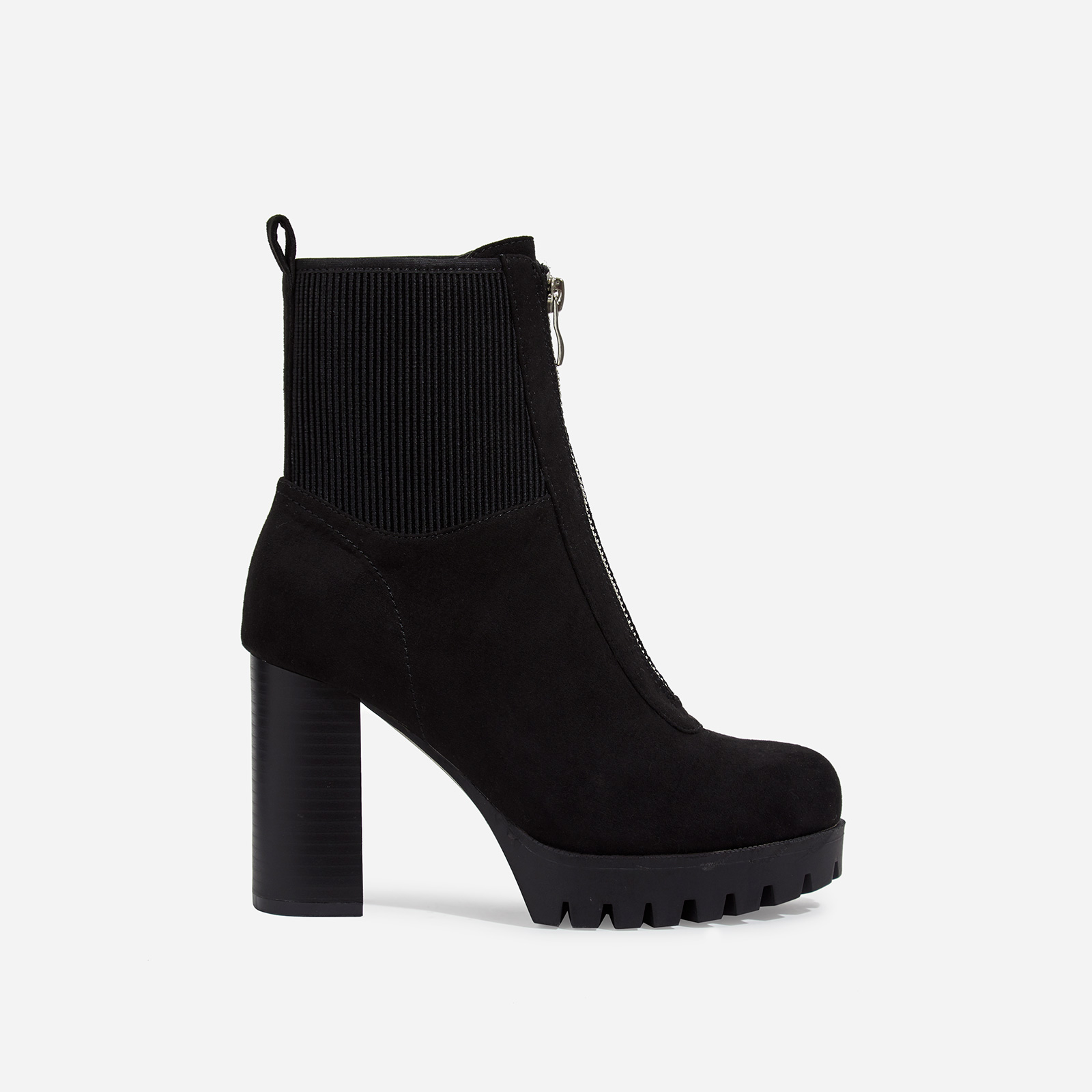 Healey Platform Zip Detail Cleated Sole Ankle Sock Boot In Black Faux Suede