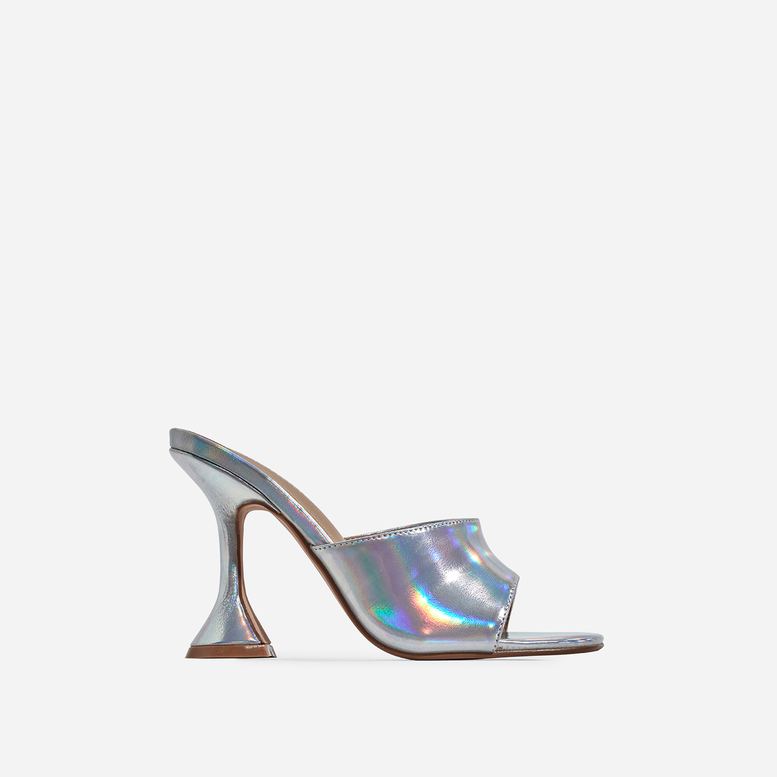 Jordi Peep Square Toe Heel Mule In Silver Holographic Faux Leather