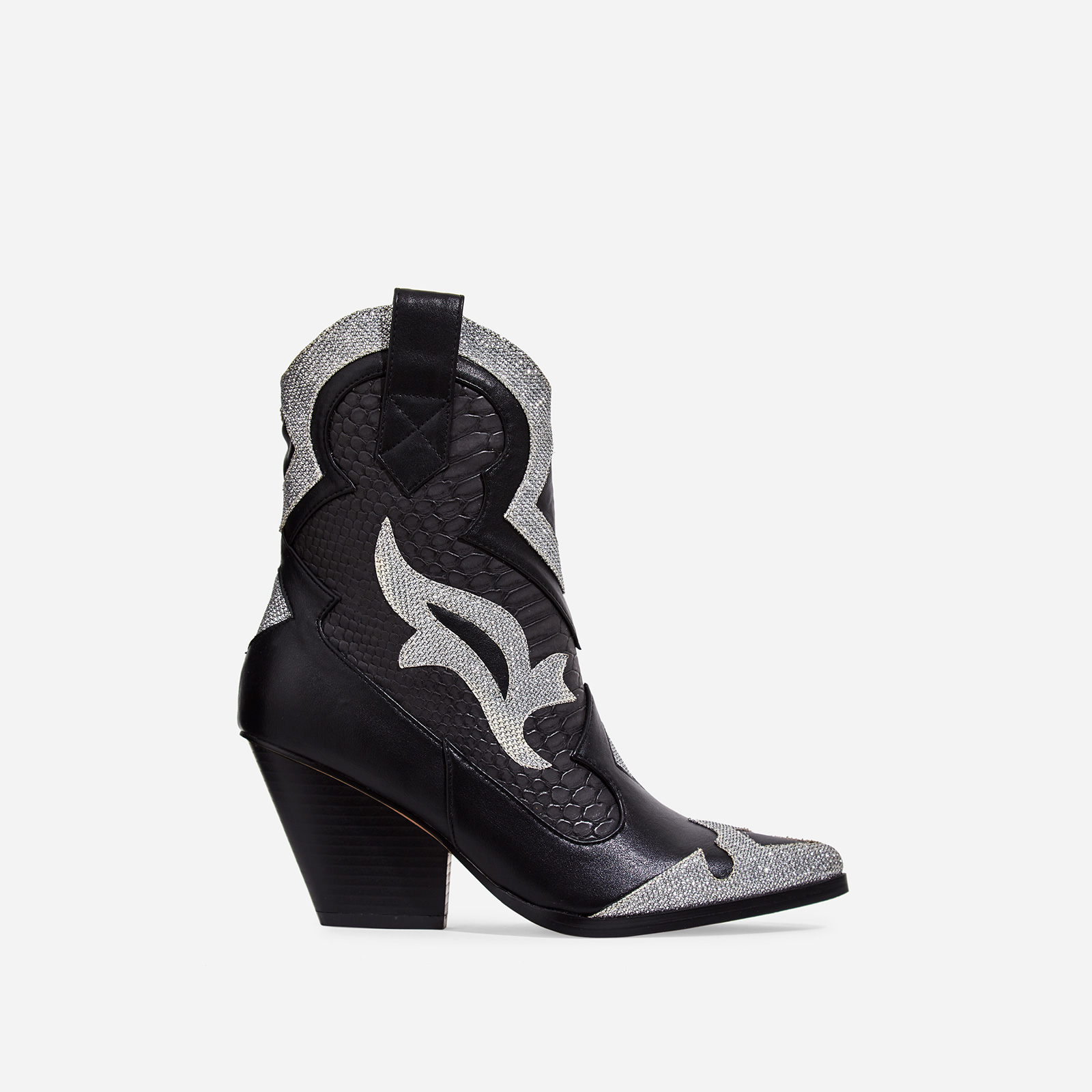 Mixer Rhinestone Snake Print Detail Western Ankle Boot In Black Faux Leather