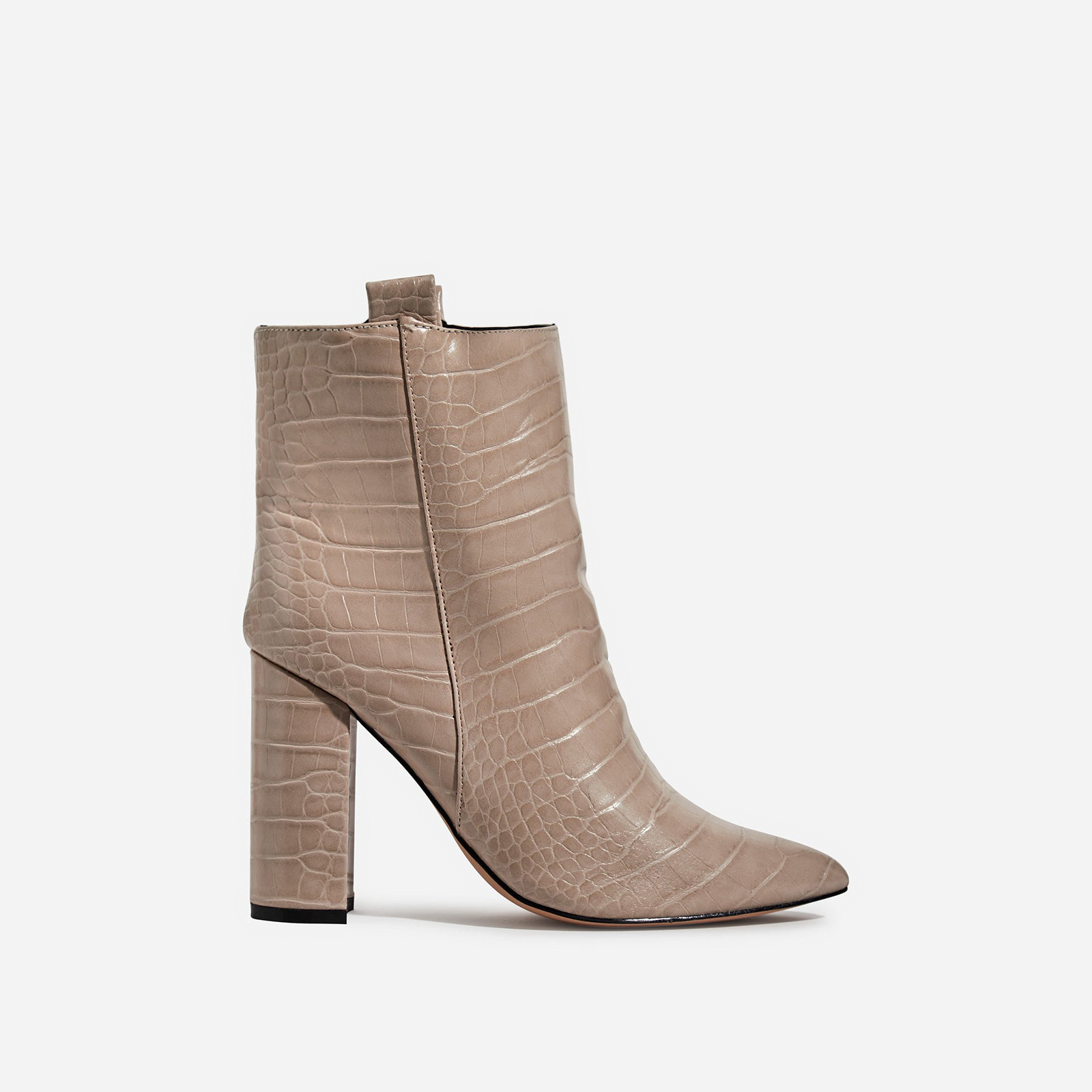 Monterey Block Heel Ankle Boot In Nude Croc Print Faux Leather