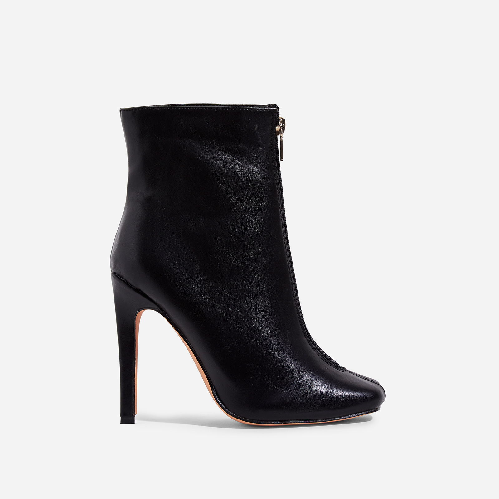 Jonah Zip Detail Ankle Boot In Black Faux Leather