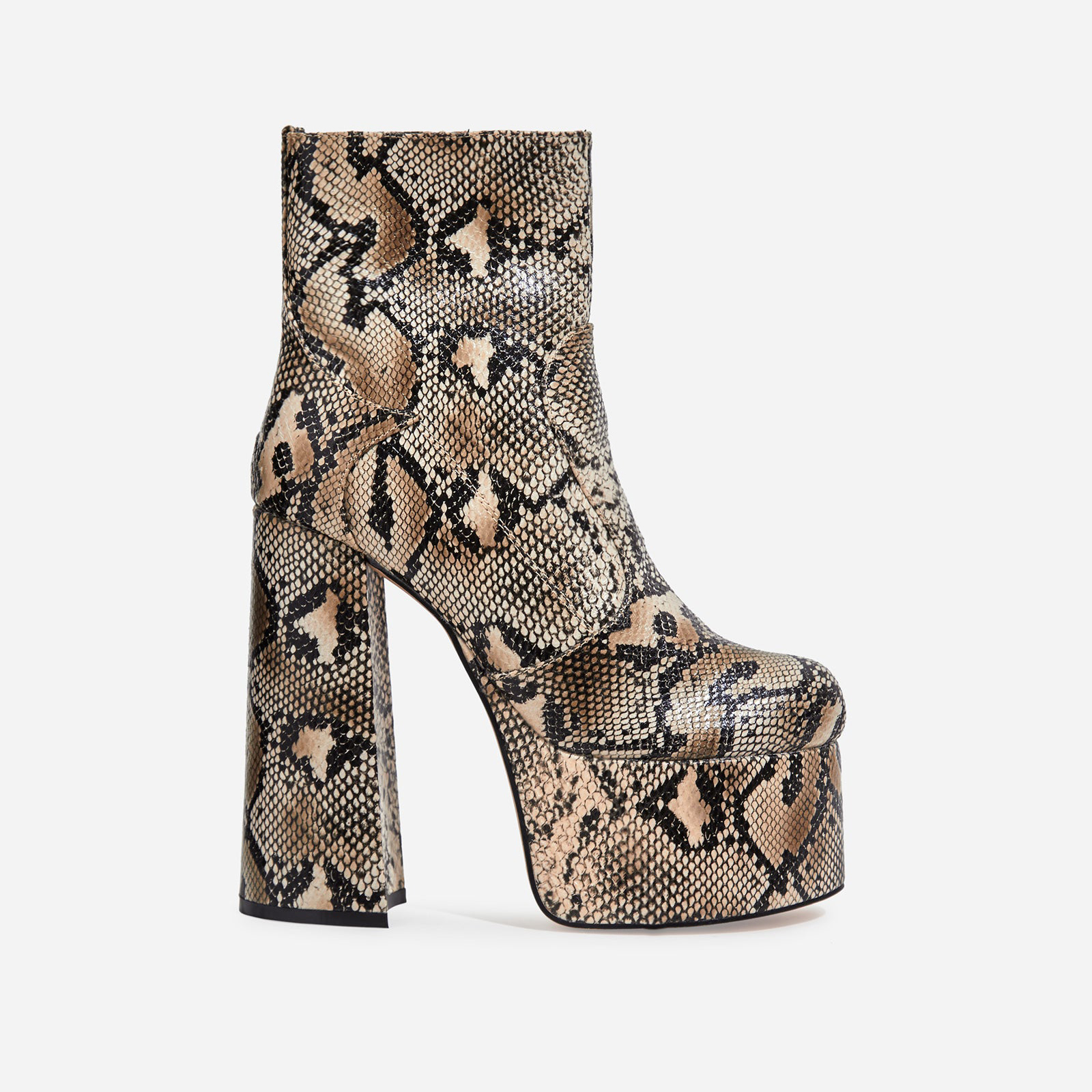Steal Platform Block Heel Ankle Boot In Nude Snake Print Faux Leather