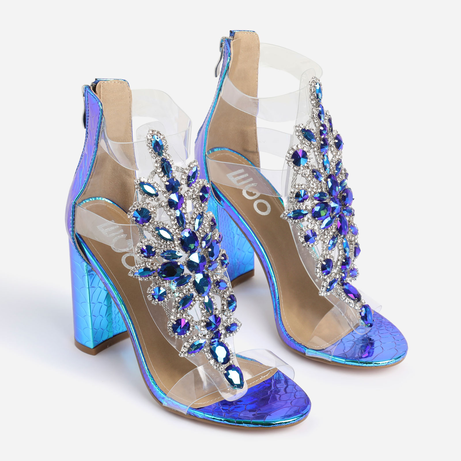 Tatum Jewel Embellished Block Heel In Blue Holographic Snake Print Faux Leather
