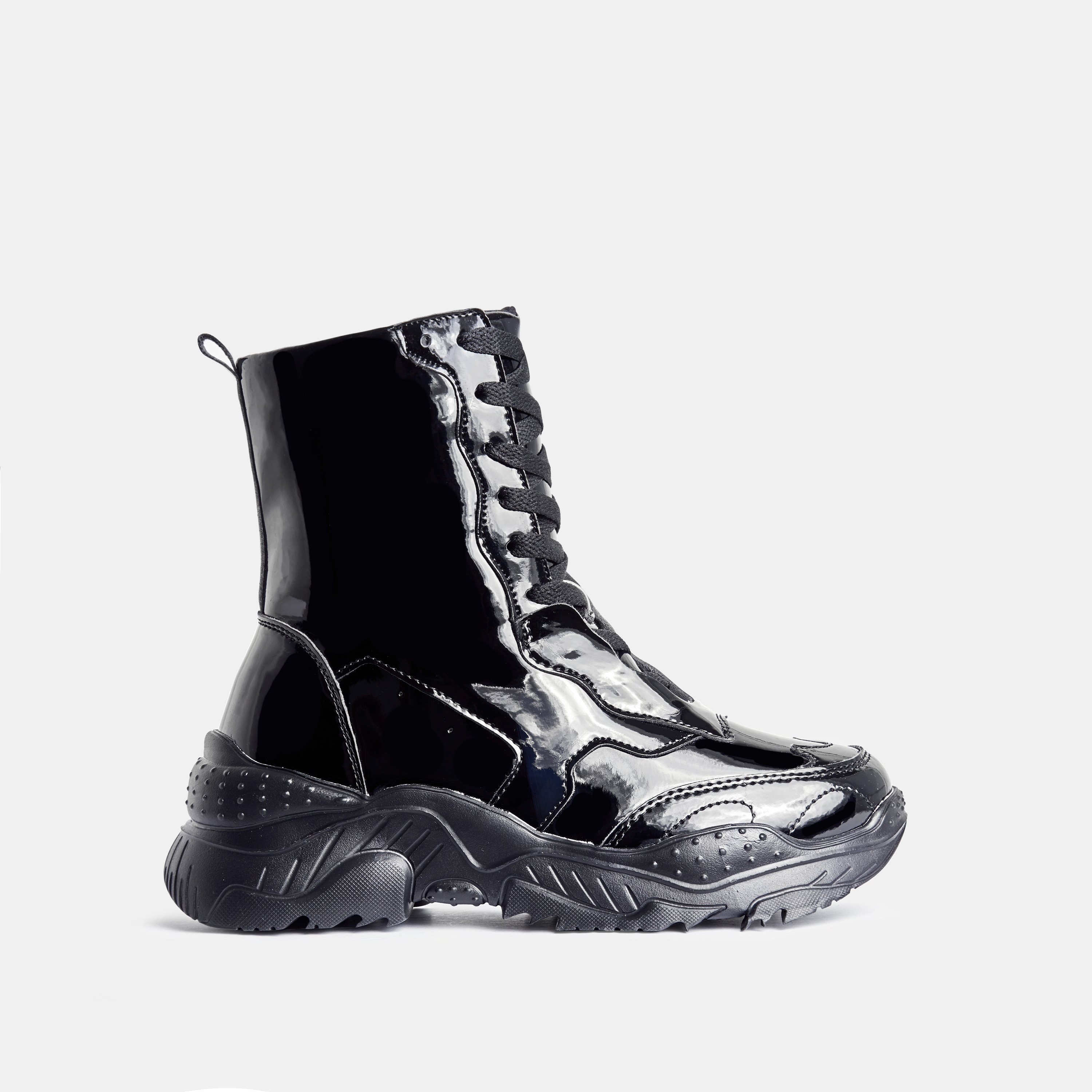 Kute Chunky Sole Lace Up Ankle Biker Boot In Black Patent
