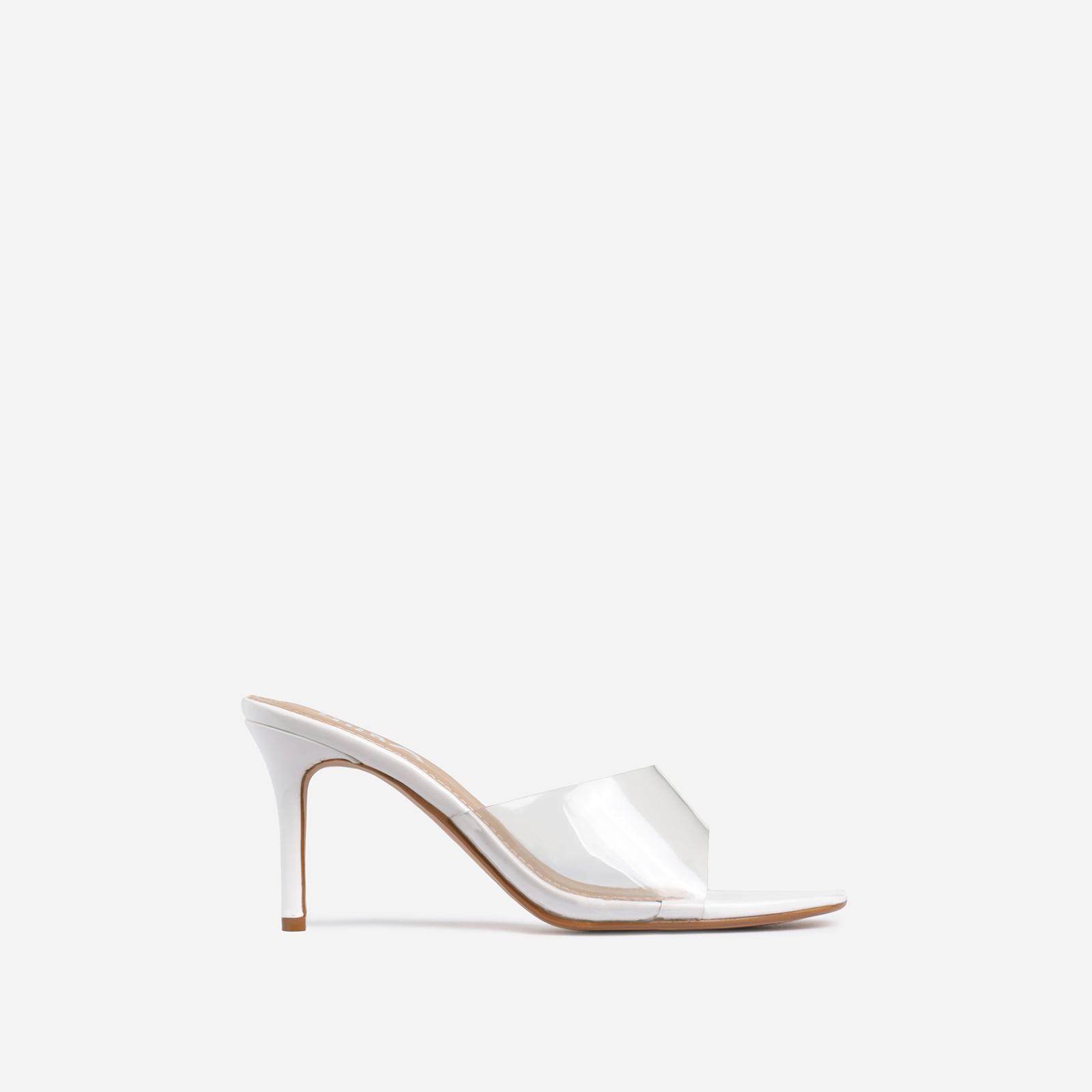 Rexa Square Peep Toe Clear Perspex Kitten Heel Mule In White Patent