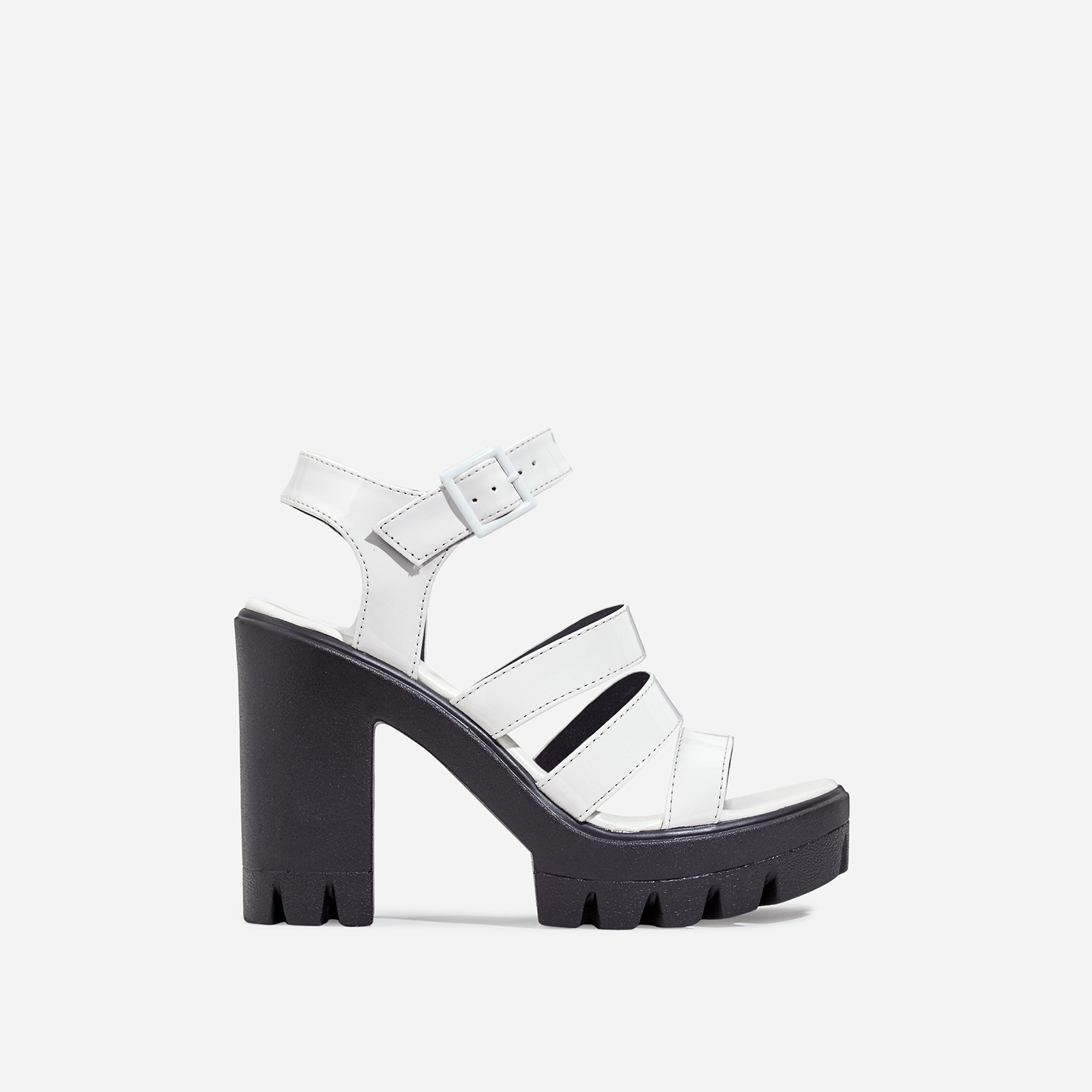 Phoebe Caged Platform Block Heel In White Patent