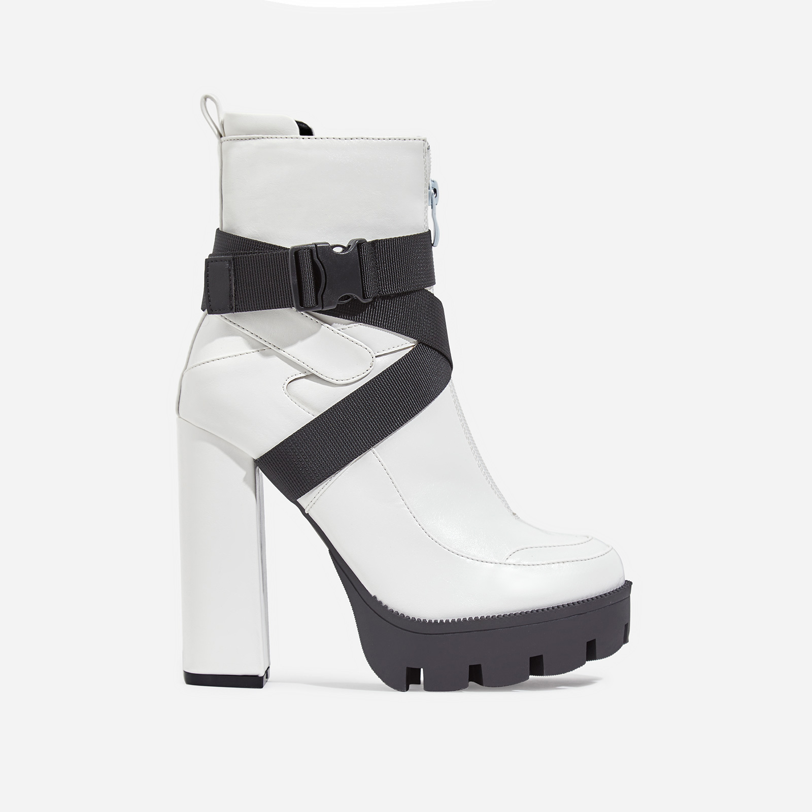 Efron Buckle Detail Platform Ankle Boot In White Faux Leather