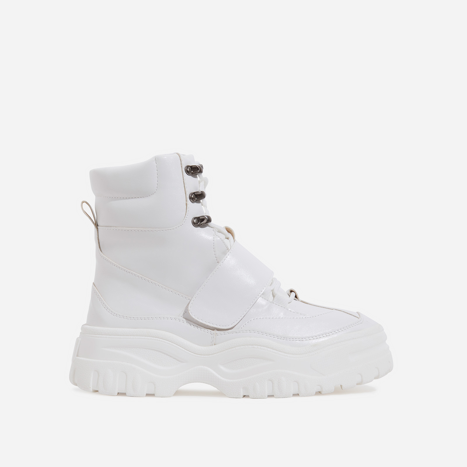 Rover Lace Up Ankle Hiker Boot In White Faux Leather