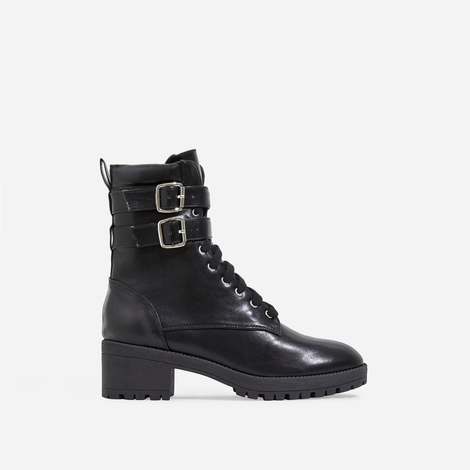 Jovi Lace Up Ankle Biker Boot In Black Faux Leather