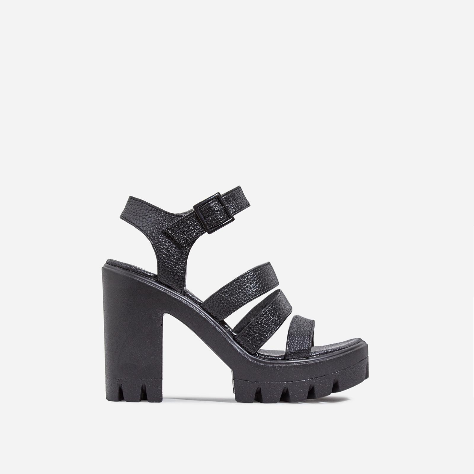 Phoebe Caged Platform Block Heel In Black Faux Leather