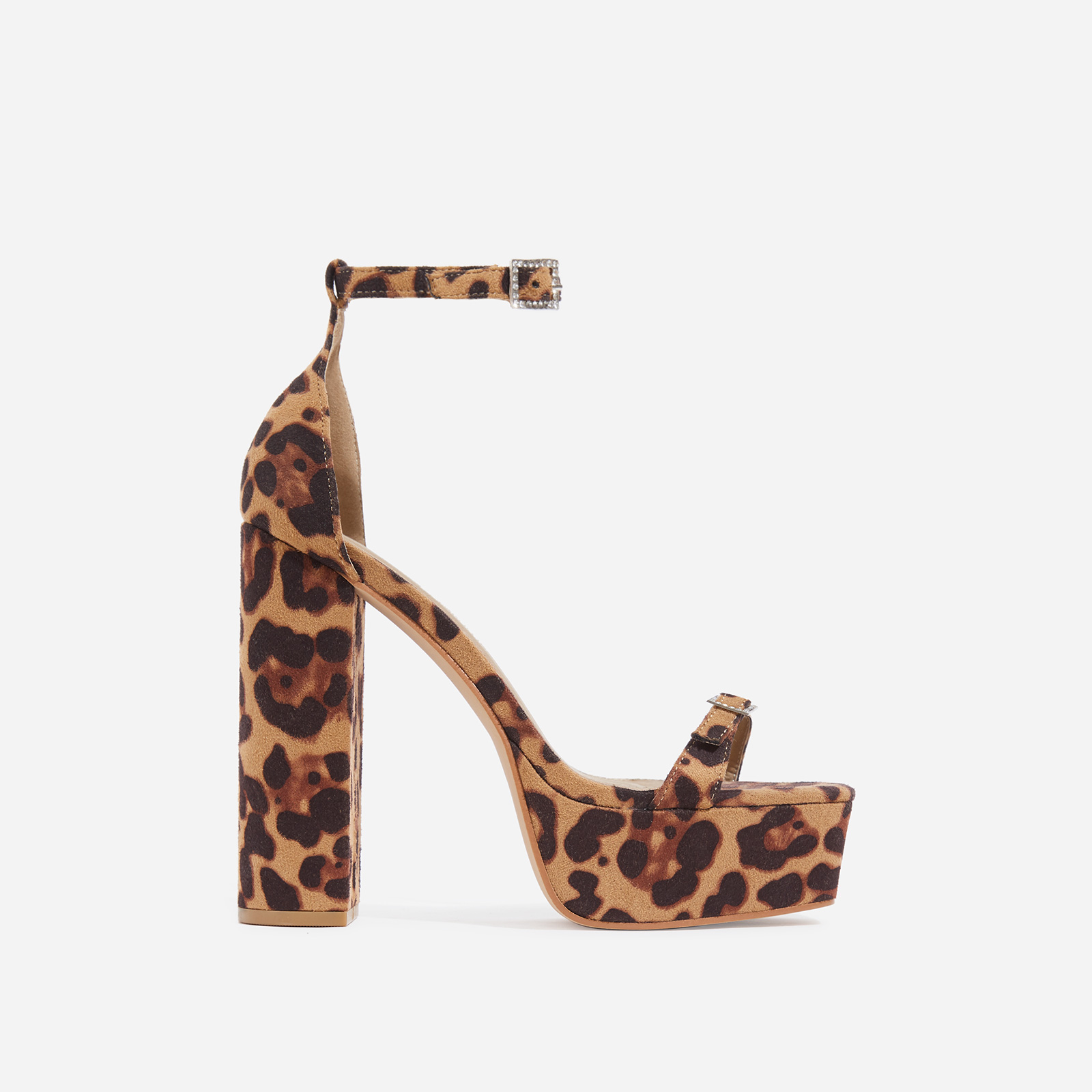 Milan Square Toe Barely There Platform Heel In Tan Leopard Print Faux Suede