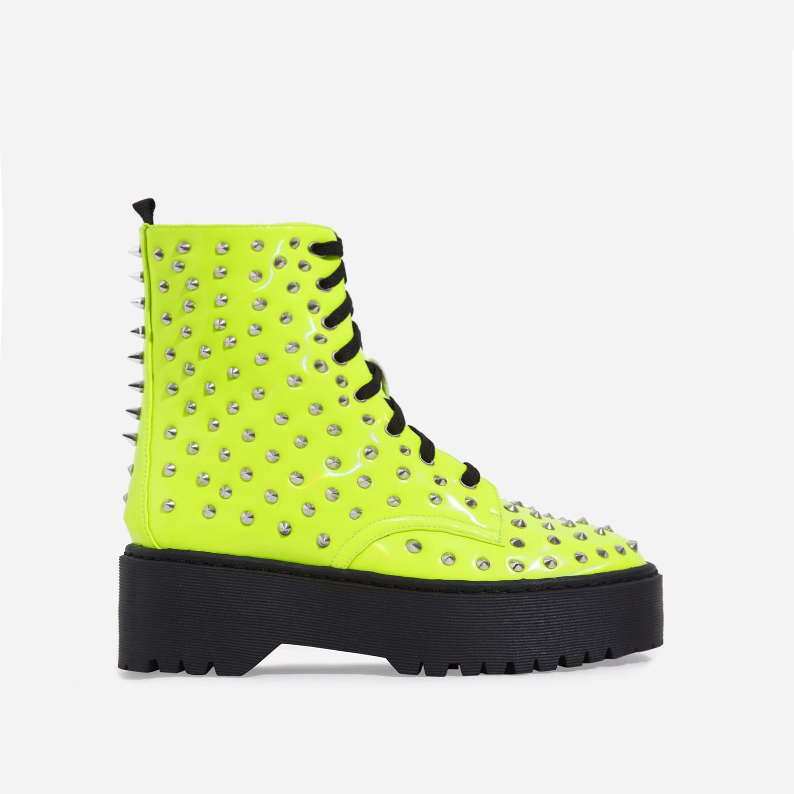 Pixie Studded Detail Lace Up Biker Boot In Lime Green Patent