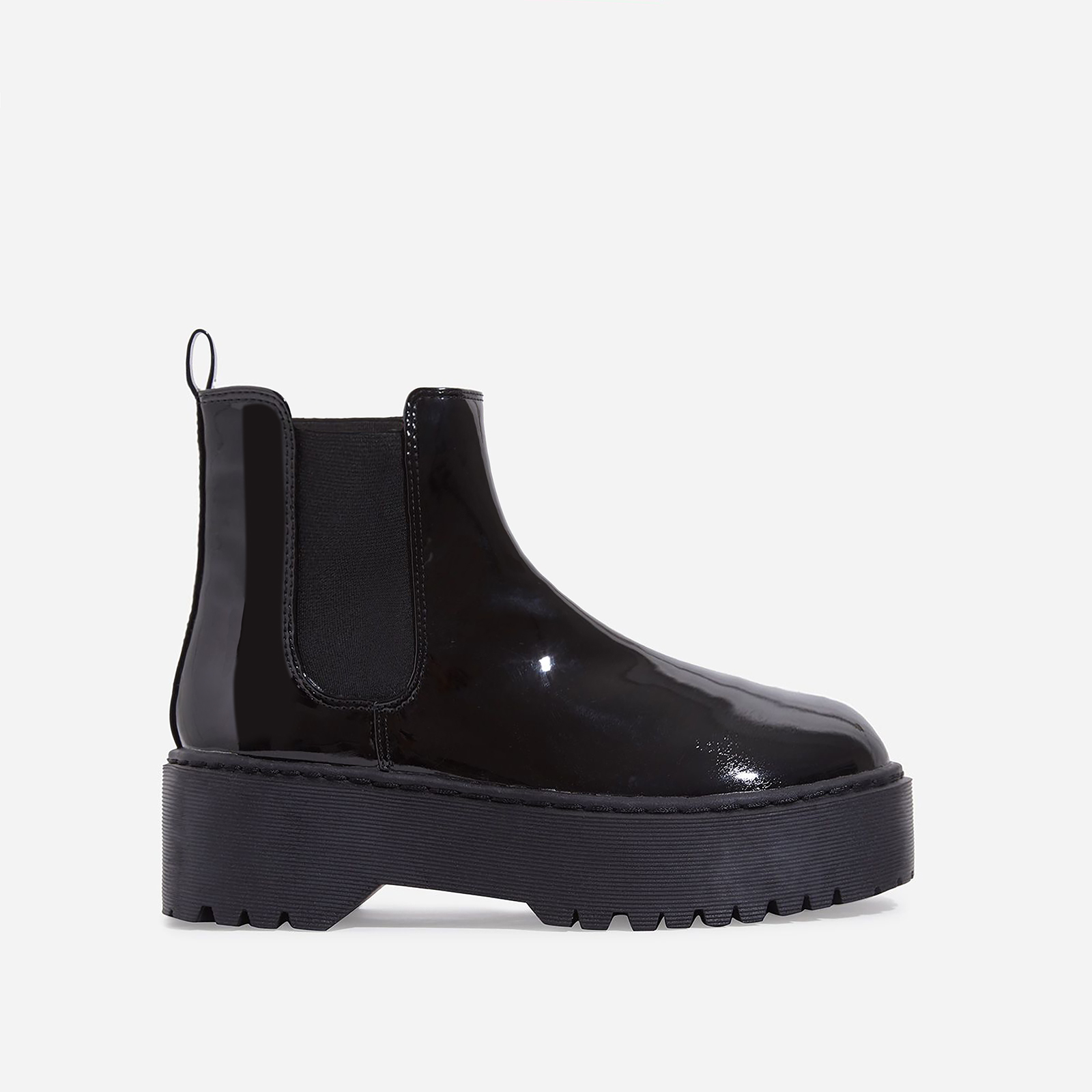 Tristan Chelsea Ankle Biker Boot In Black Patent