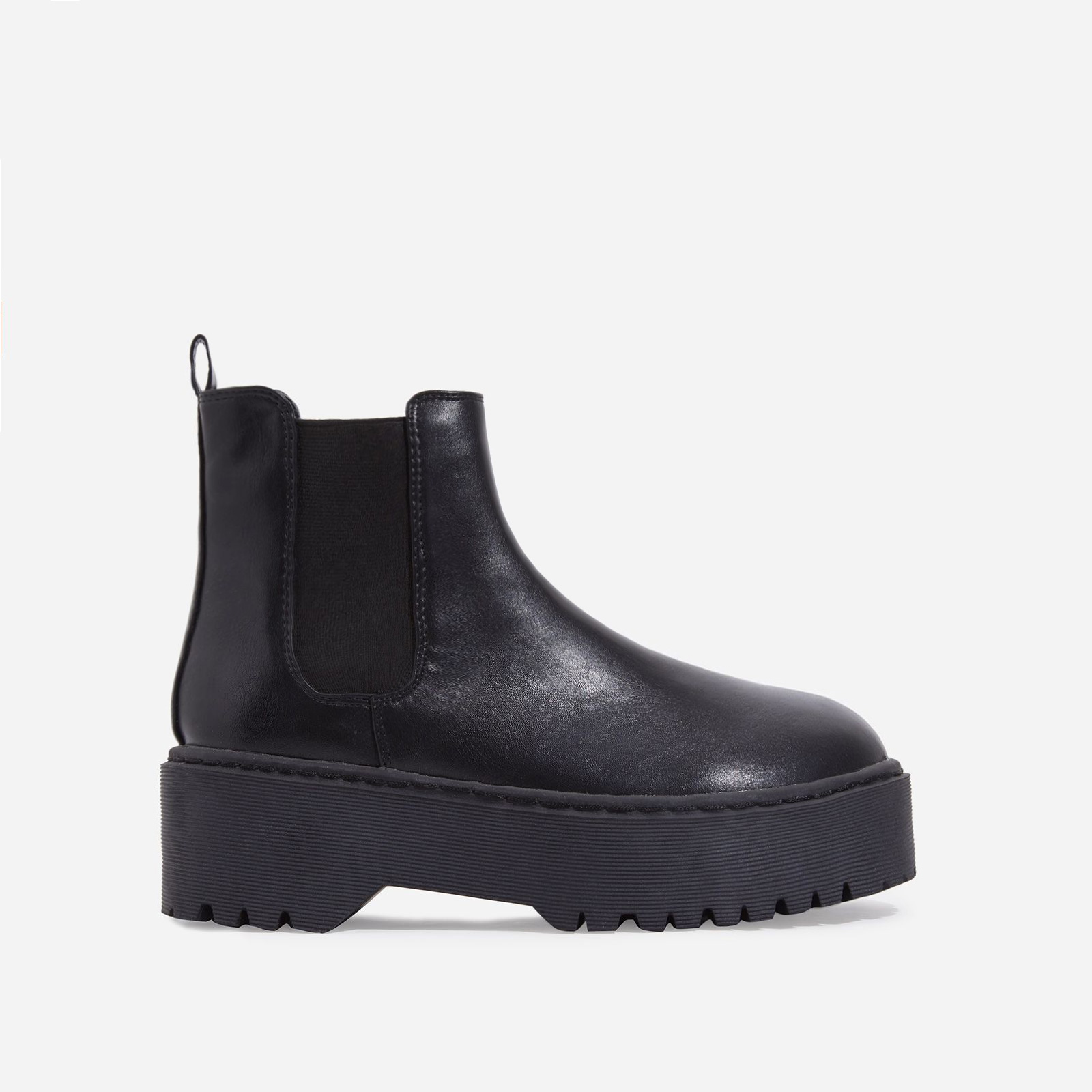 Tristan Chelsea Ankle Biker Boot In Black Faux Leather