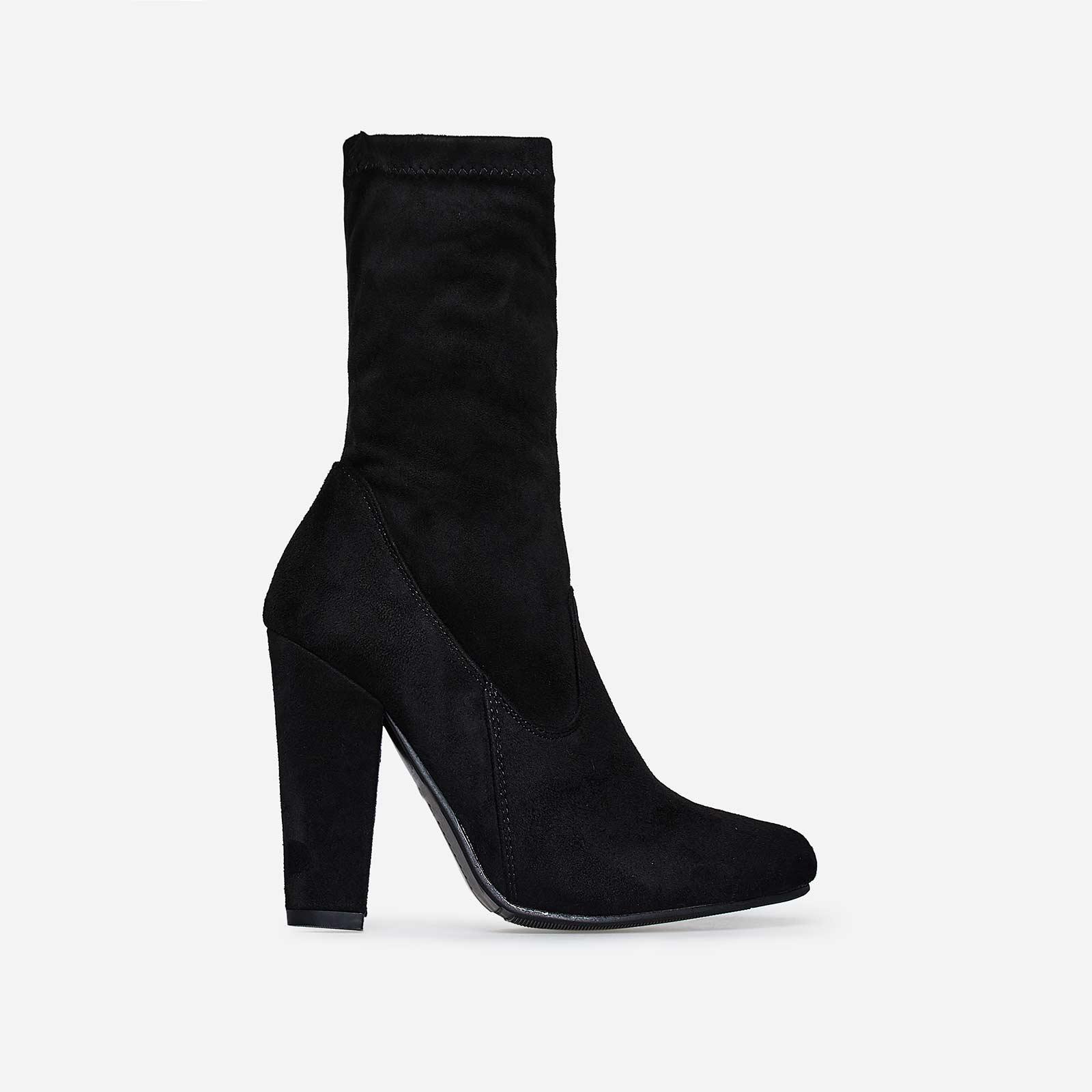 Keegan Block Heel Ankle Boot In Black Faux Suede