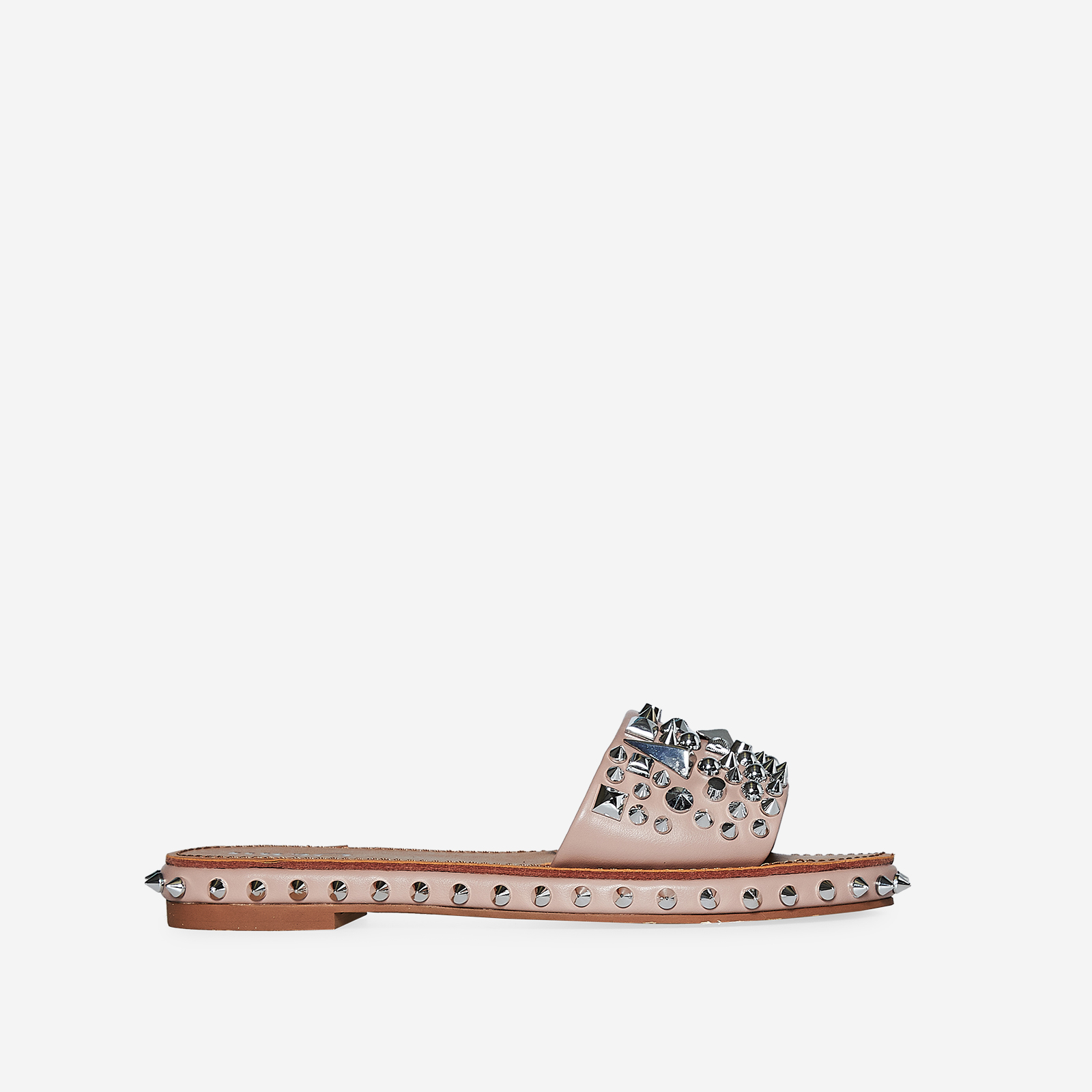 Tonie Silver Studded Detail Slider In Pink Faux Leather