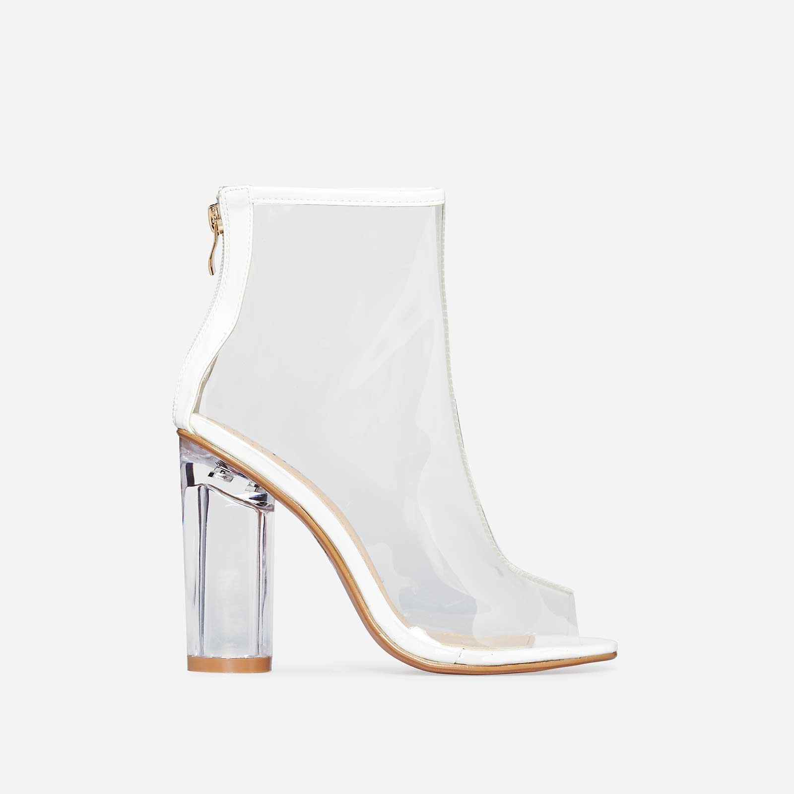 Cate Peep Toe Perspex Ankle Boot In White Patent