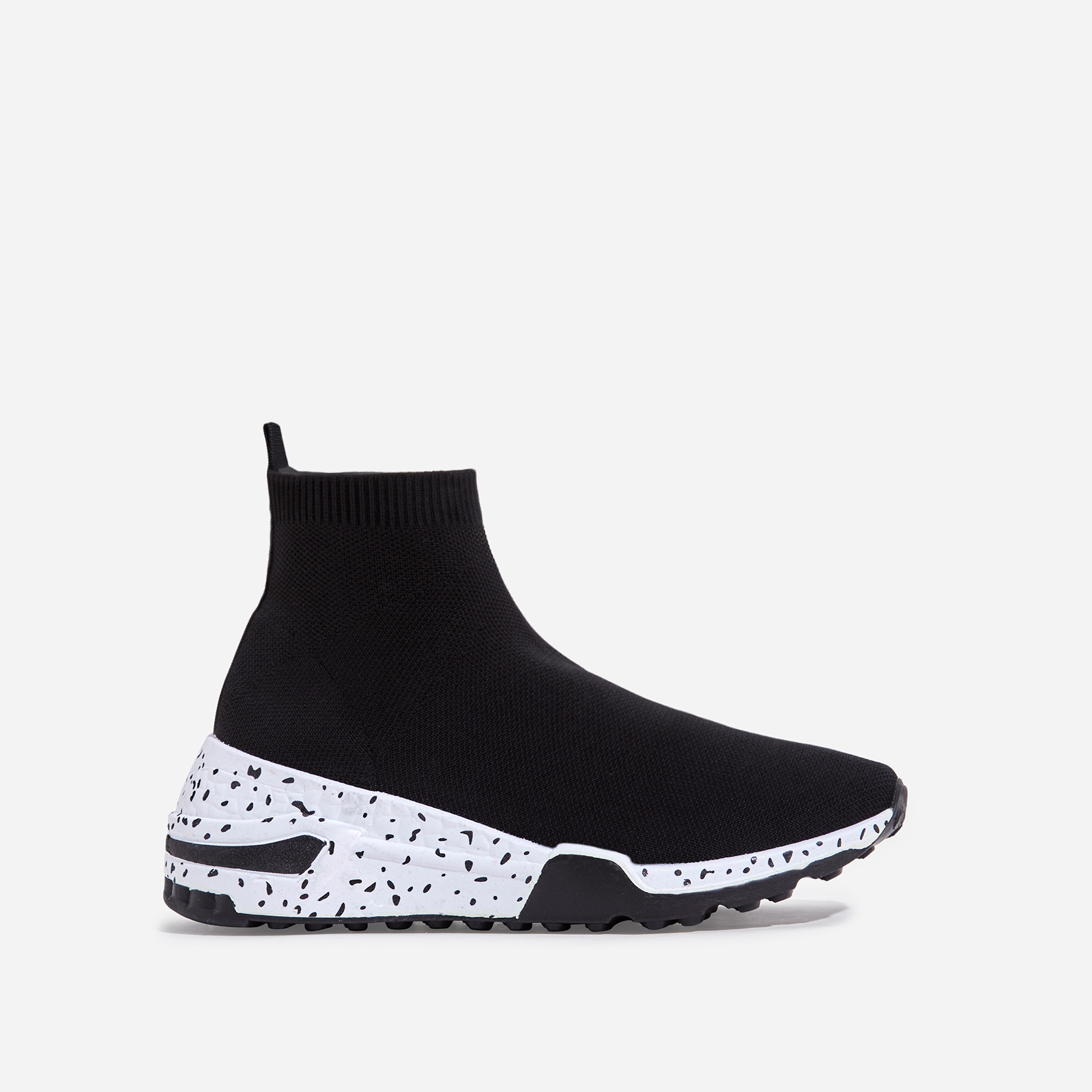 Mint Speckle Print Chunky Sole Sock Sneaker In Black Knit