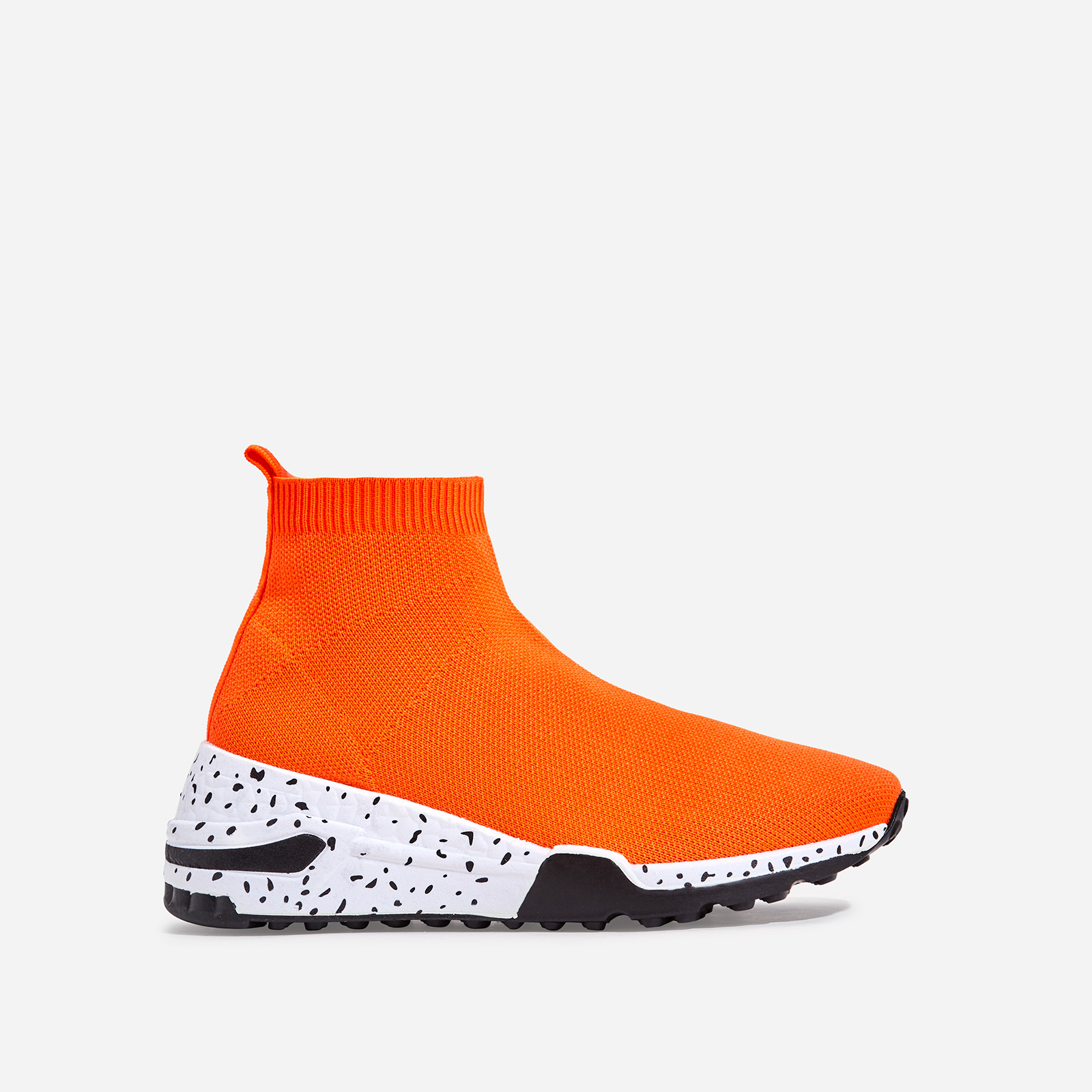 Mint Speckle Print Chunky Sole Sock Sneaker In Orange Knit