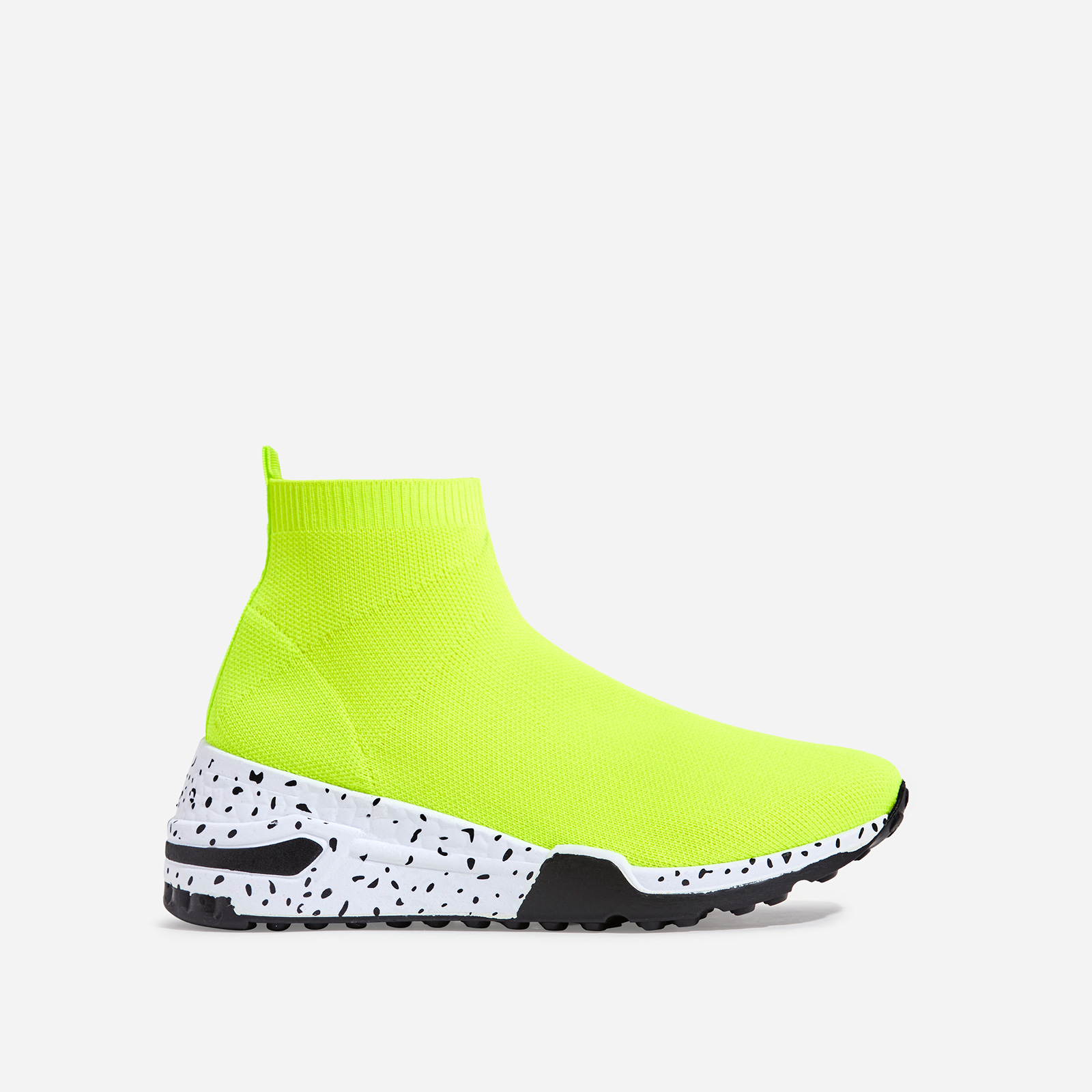 Mint Speckle Print Chunky Sole Sock Sneaker In Lime Green Knit