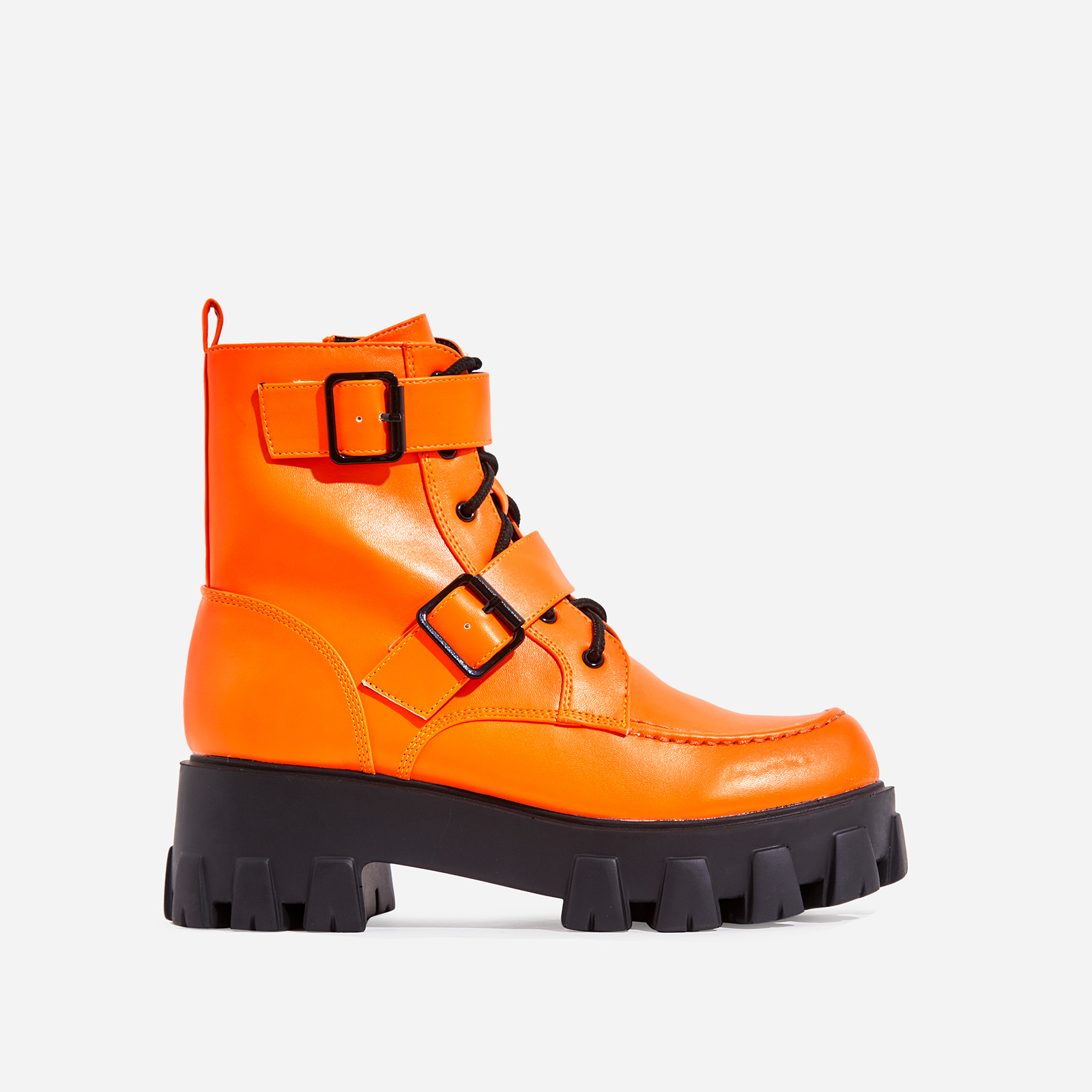 Lambo Buckle Detail Chunky Sole Lace Up Ankle Biker Boot In Neon Orange Faux Leather