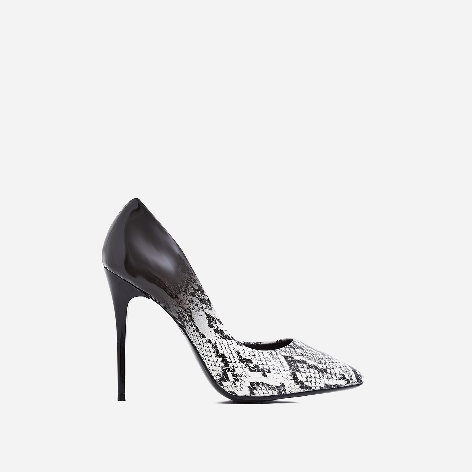 Aleka Court Heel In Grey Snake Print Patent