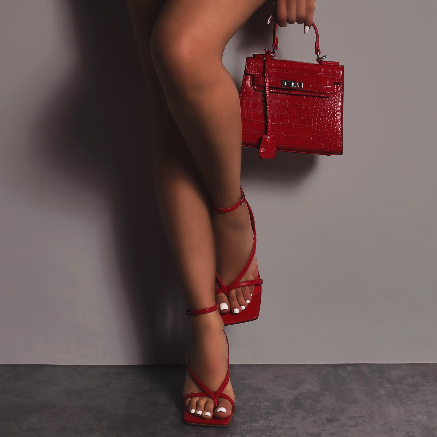Eve Square Toe Strappy Heel In Red Faux Leather