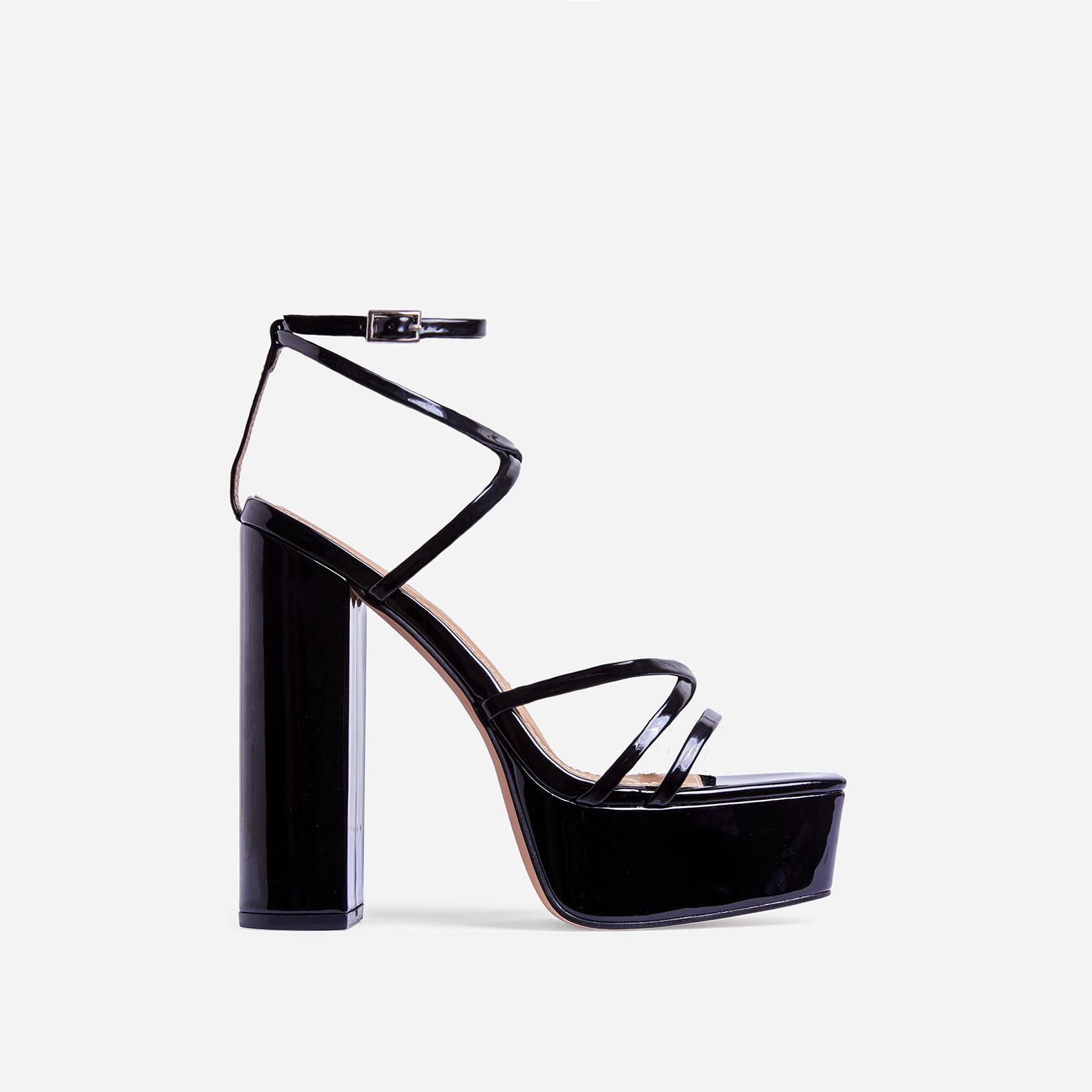 Leona Square Toe Platform Block Heel In Black Patent