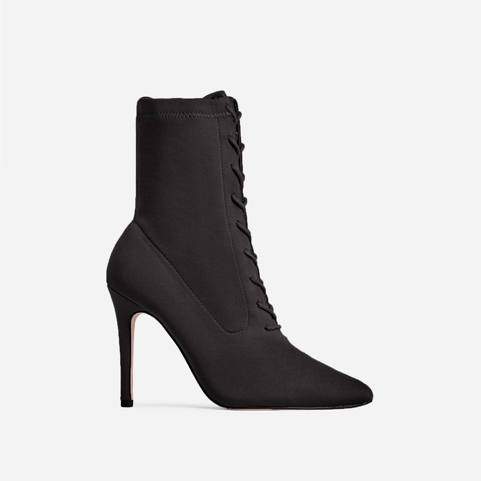 Cosmic Lace Up Ankle Boot In Black Knit Image 1