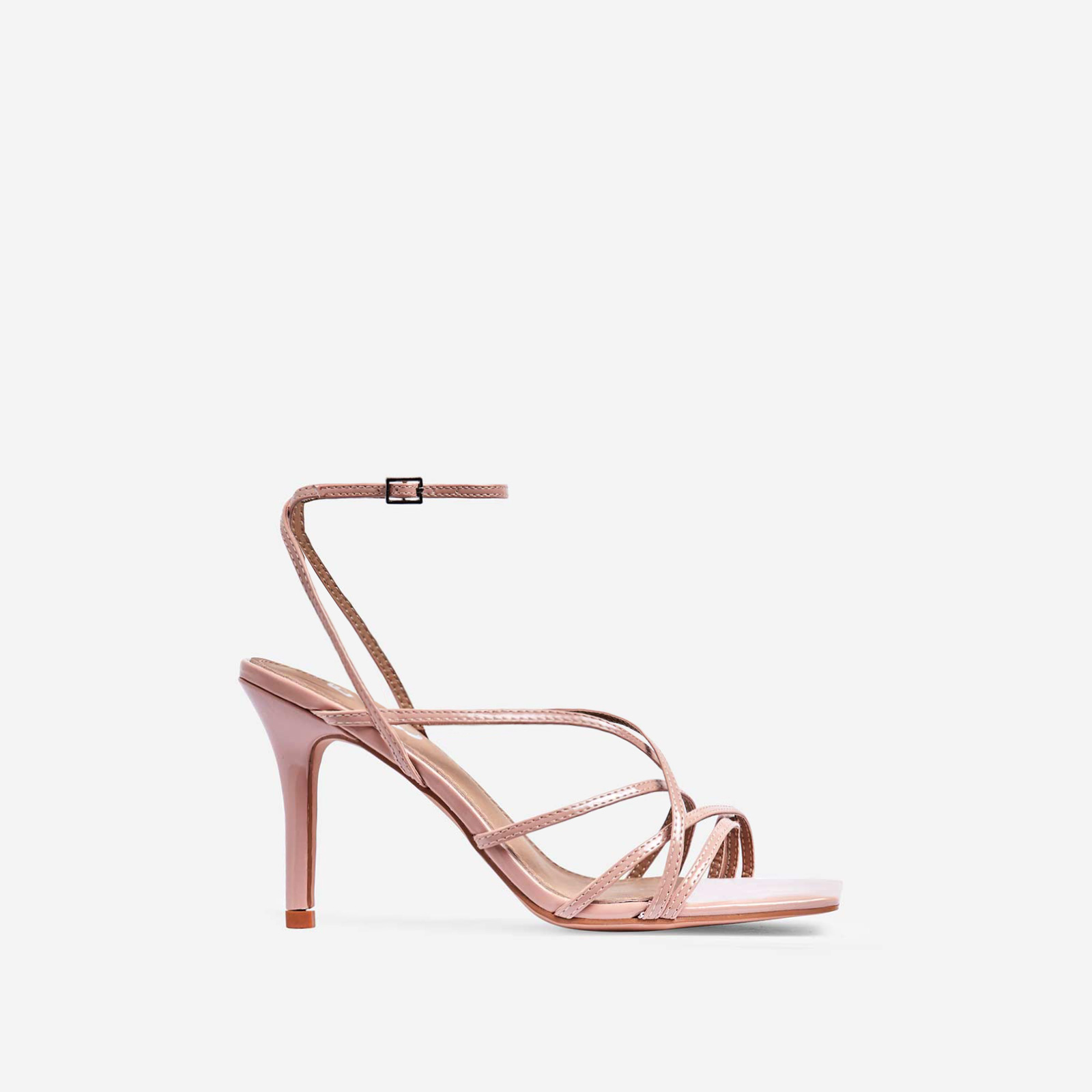 Shade Square Toe Strappy Kitten Heel In Nude Patent