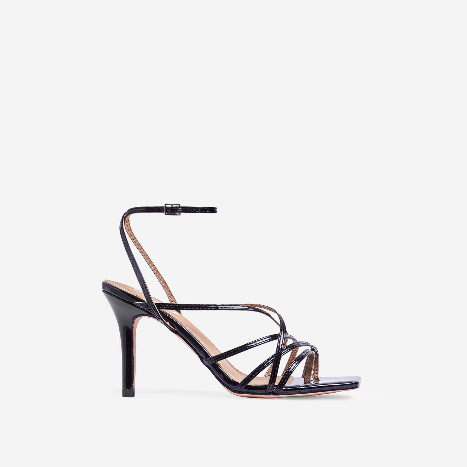 Shade Square Toe Strappy Kitten Heel In Black Patent