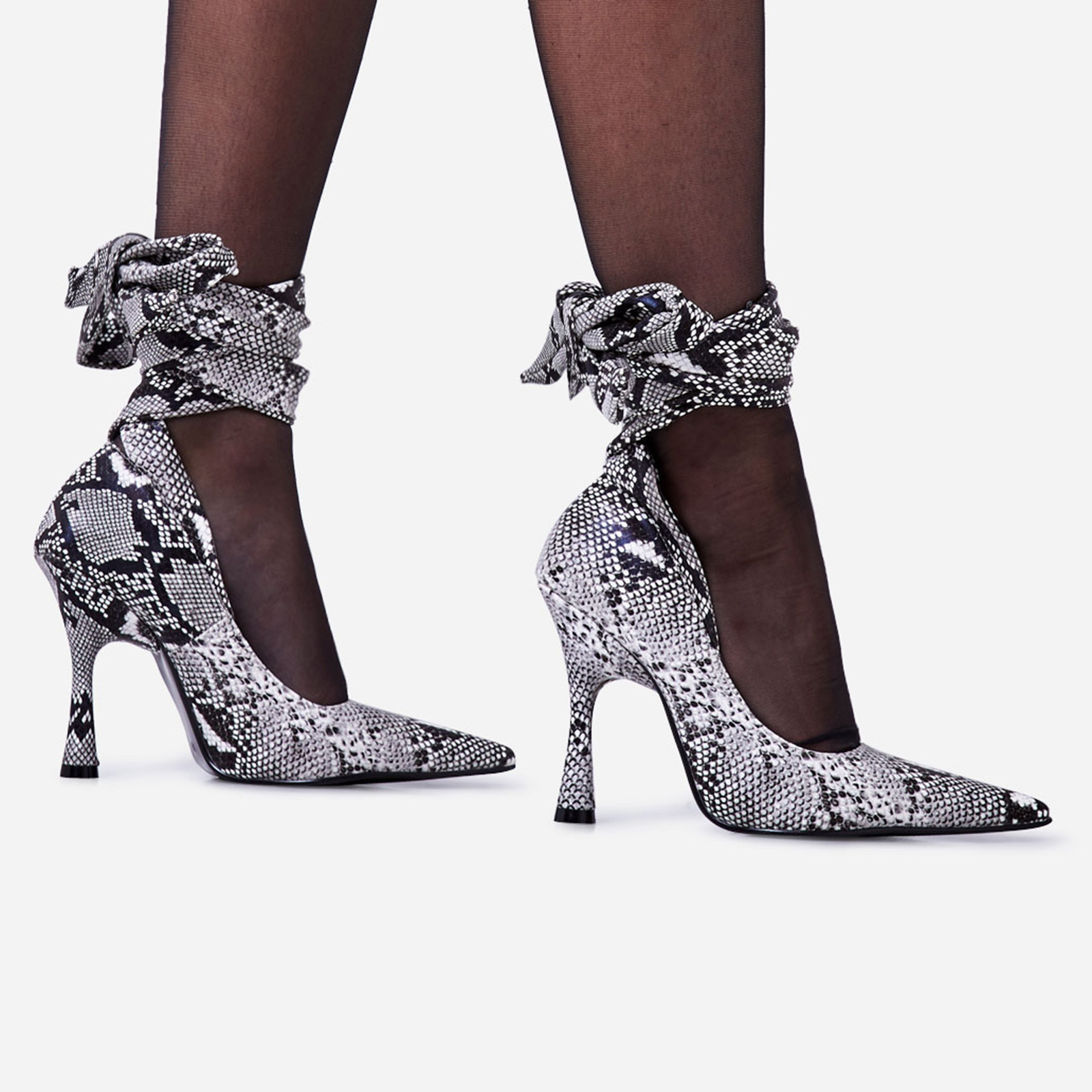 Balling Lace Up Pointed Court Heel In Grey Snake Print Faux Leather