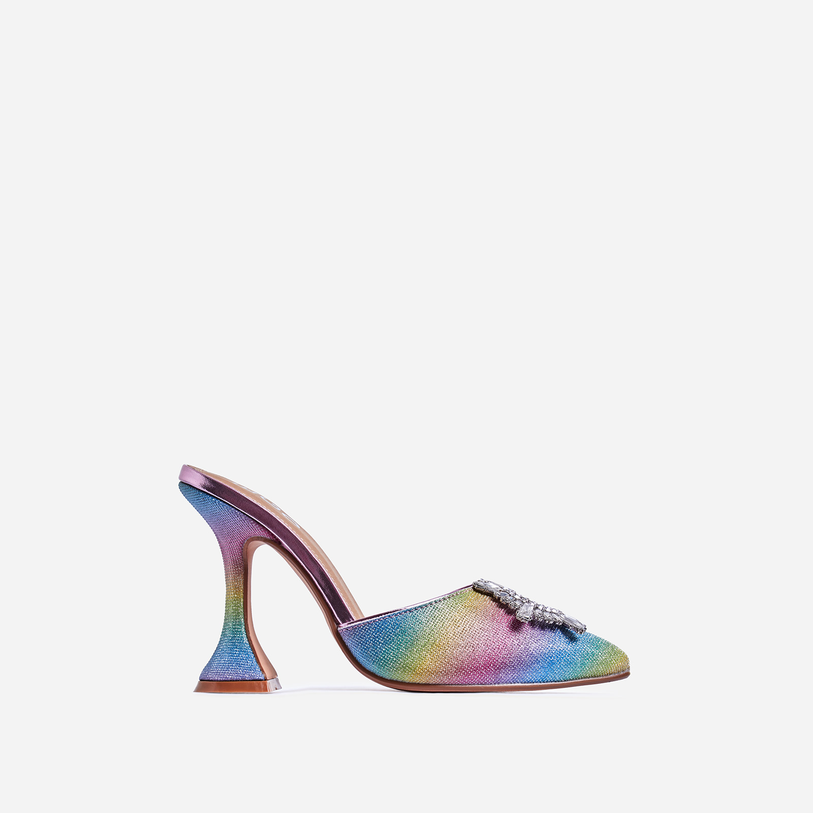 Moonlight Diamante Detail Pyramid Heel Mule In Rainbow Print Glitter