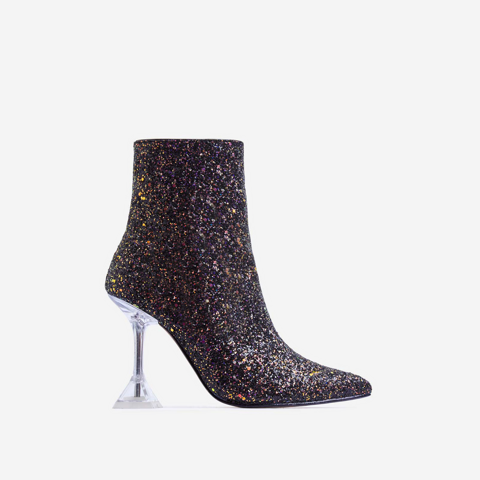 Bacardi Clear Perspex Pyramid Heel Ankle Boot In Black Glitter