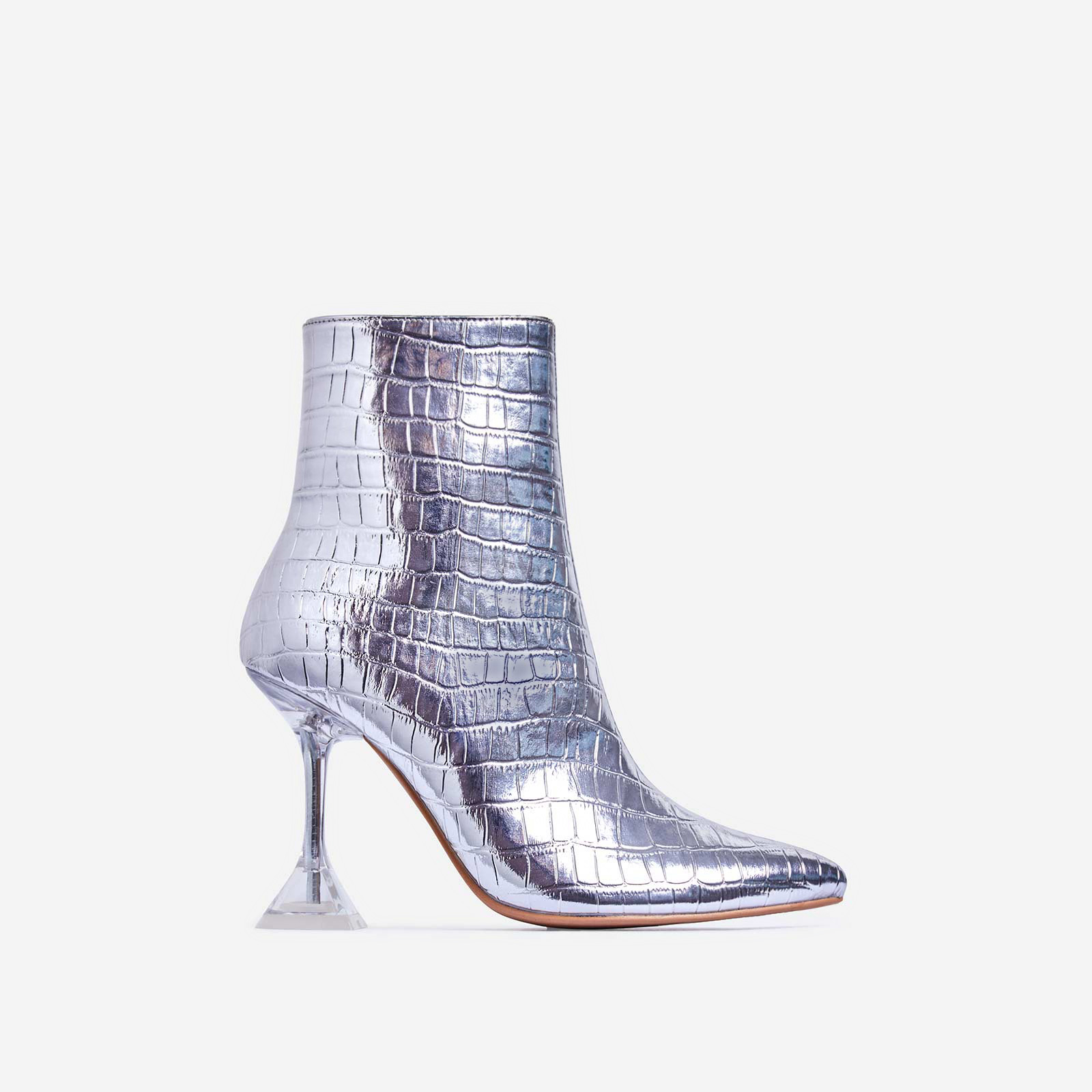 Bacardi Clear Perspex Pyramid Heel Ankle Boot In Silver Croc Print Faux Leather