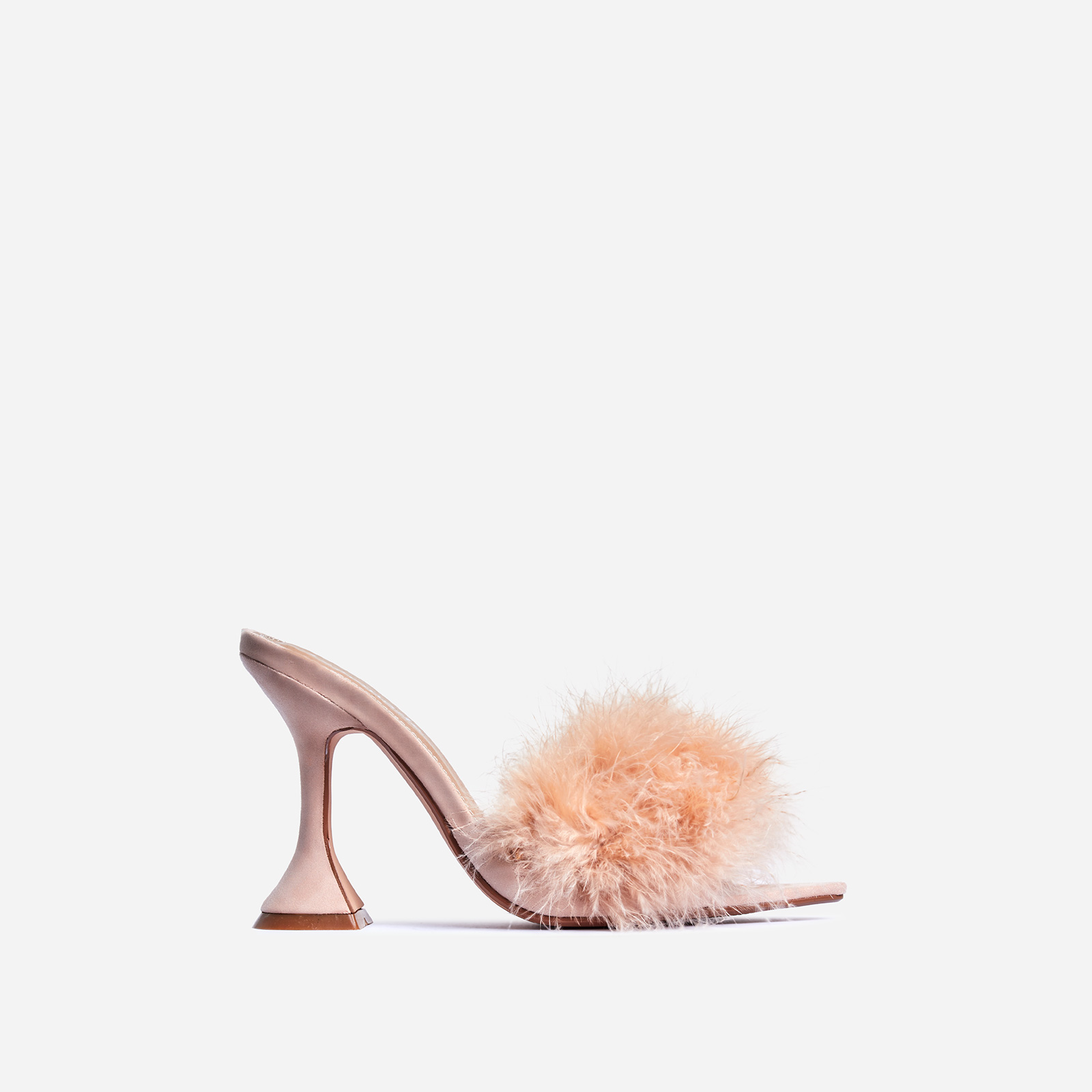 Marilyn Faux Feather Pointed Toe Pyramid Heel Mule In Nude Faux Suede