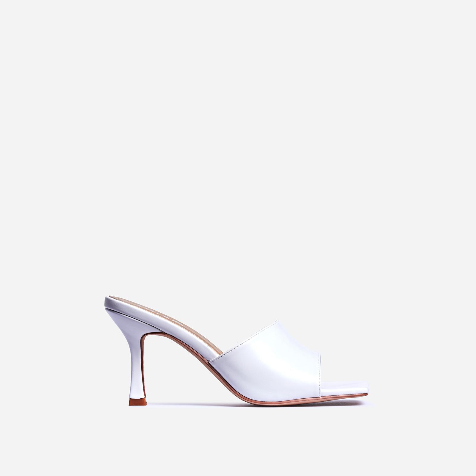 Hilton Square Peep Toe Kitten Heel Mule In White Faux Leather