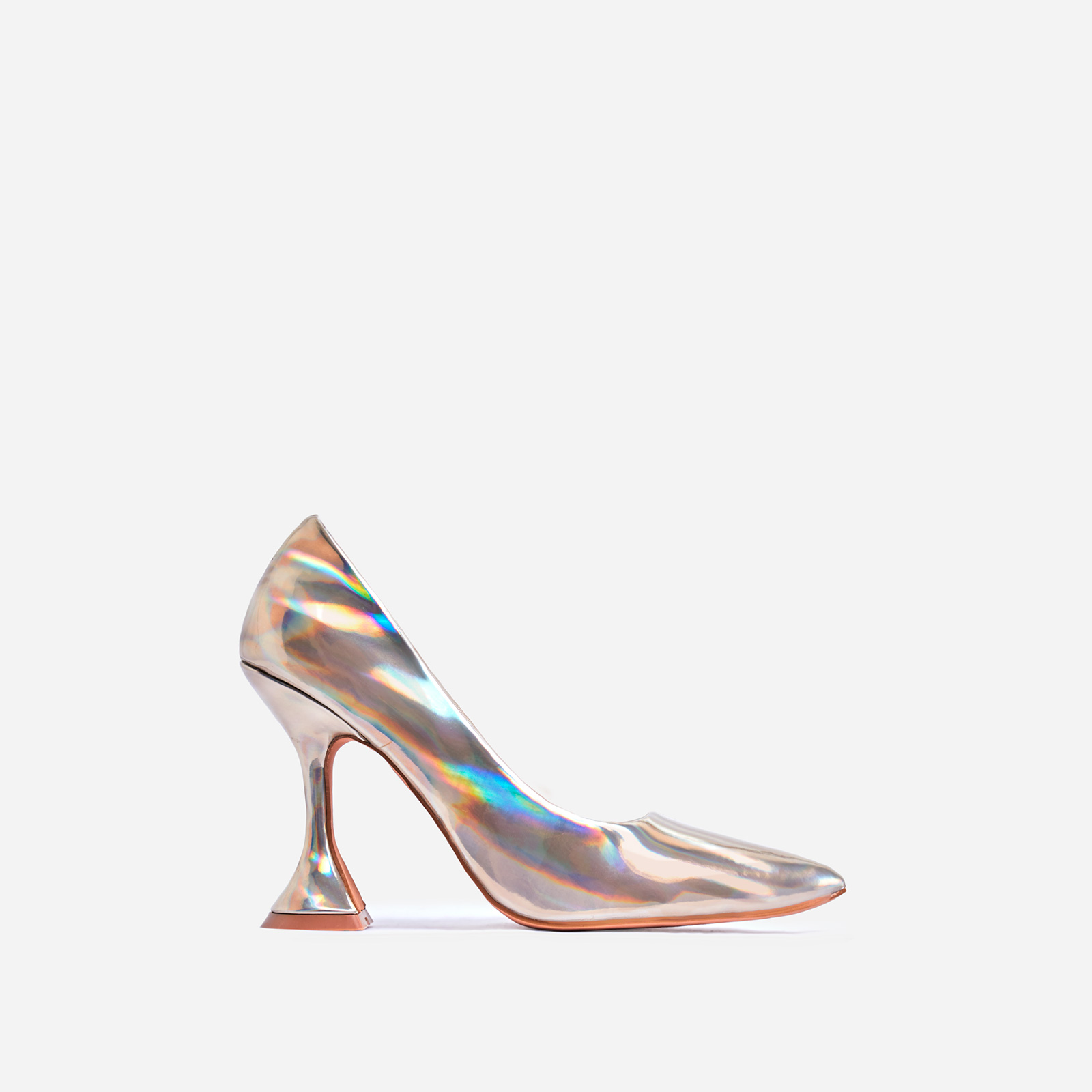 Tiller Pyramid Court Heel In Gold Holographic Faux Leather