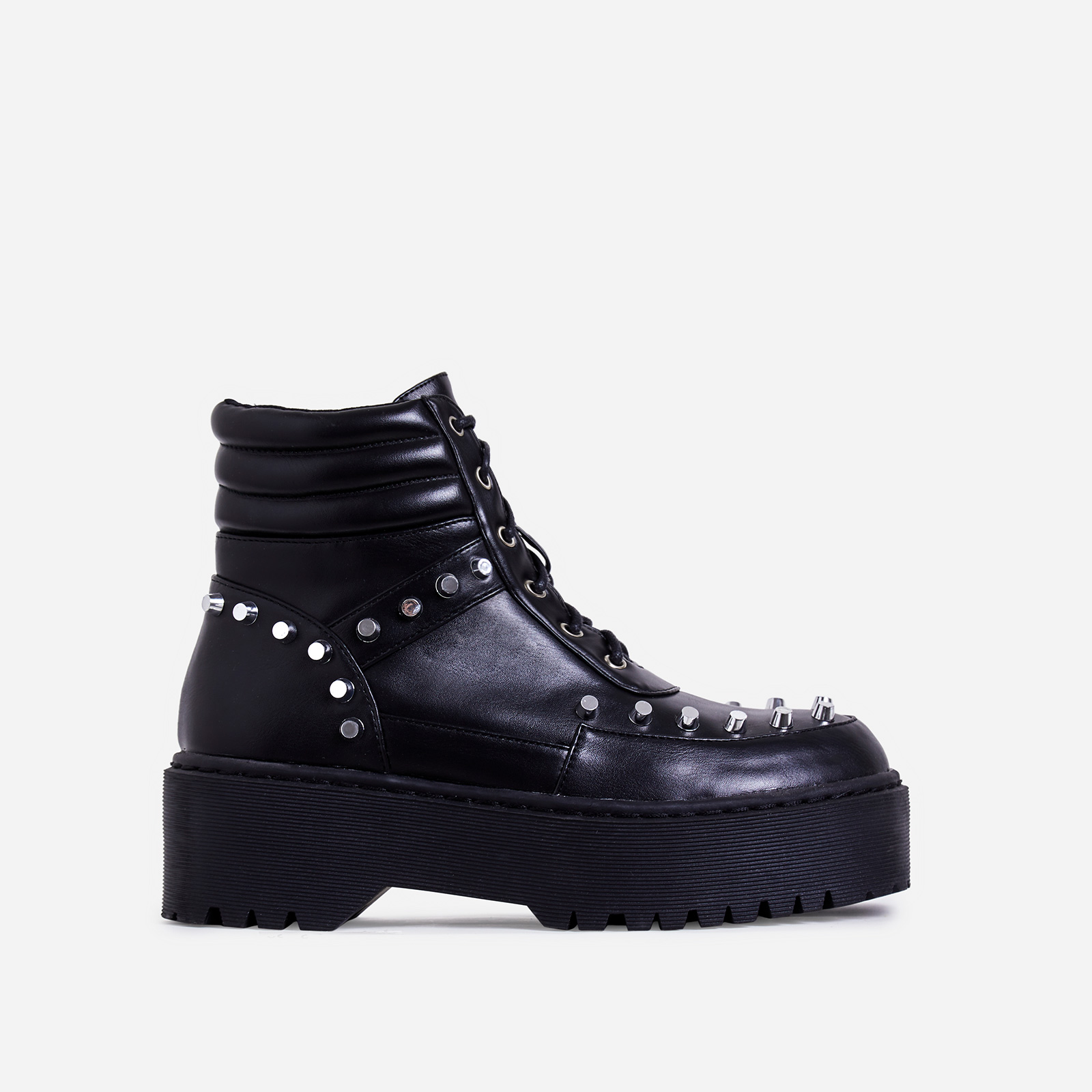 Lore Studded Detail Ankle Biker Boot In Black Faux Leather