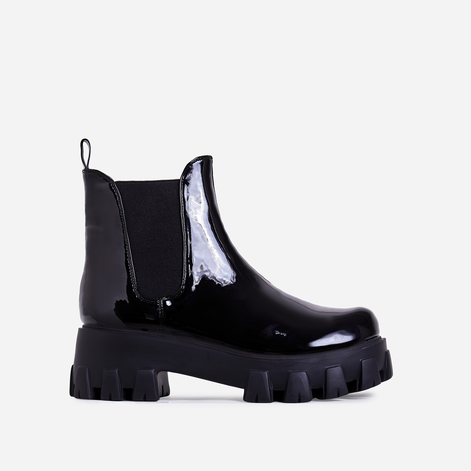 Easton Chunky Sole Ankle Chelsea Boot In Black Patent