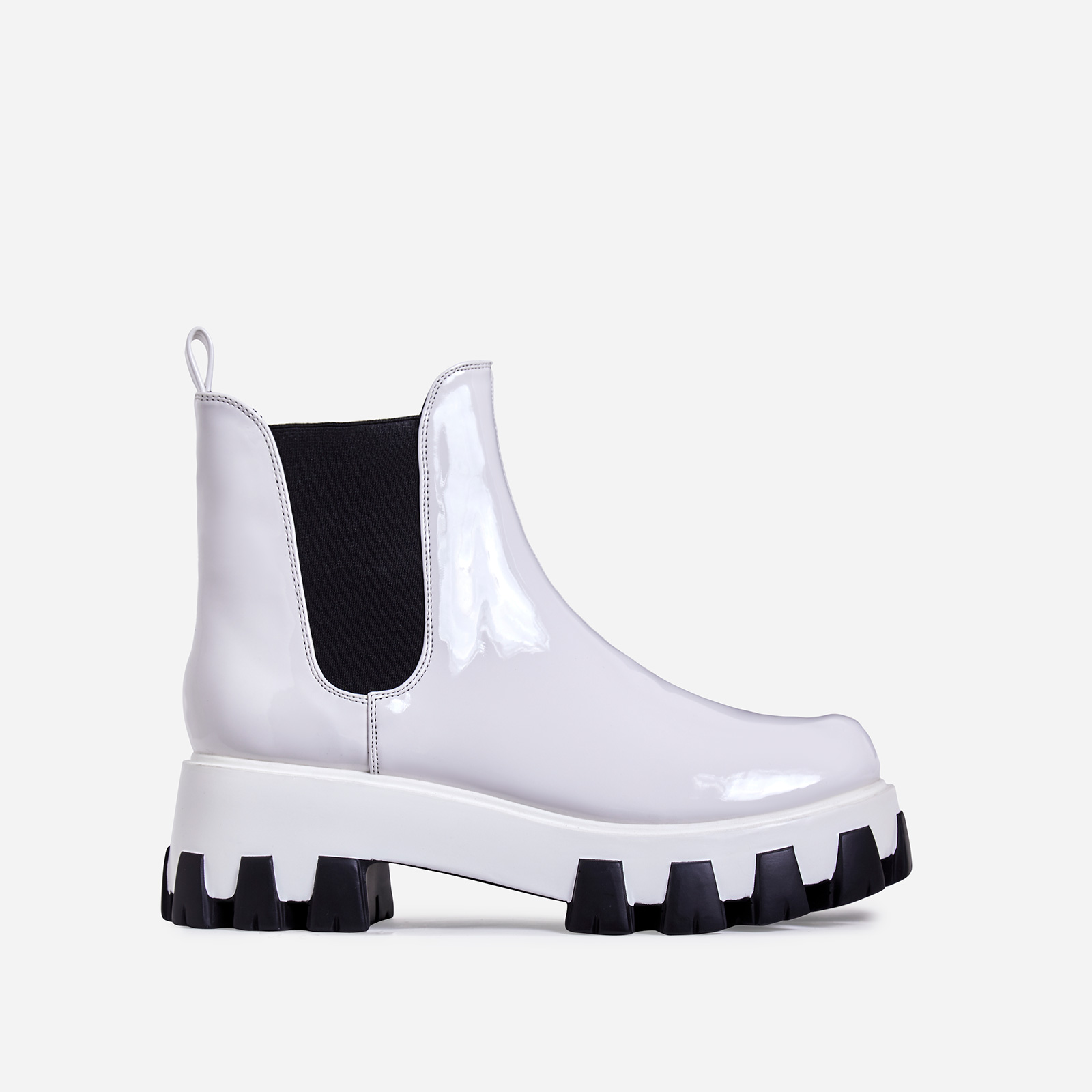 Easton Chunky Sole Ankle Chelsea Boot In White Patent