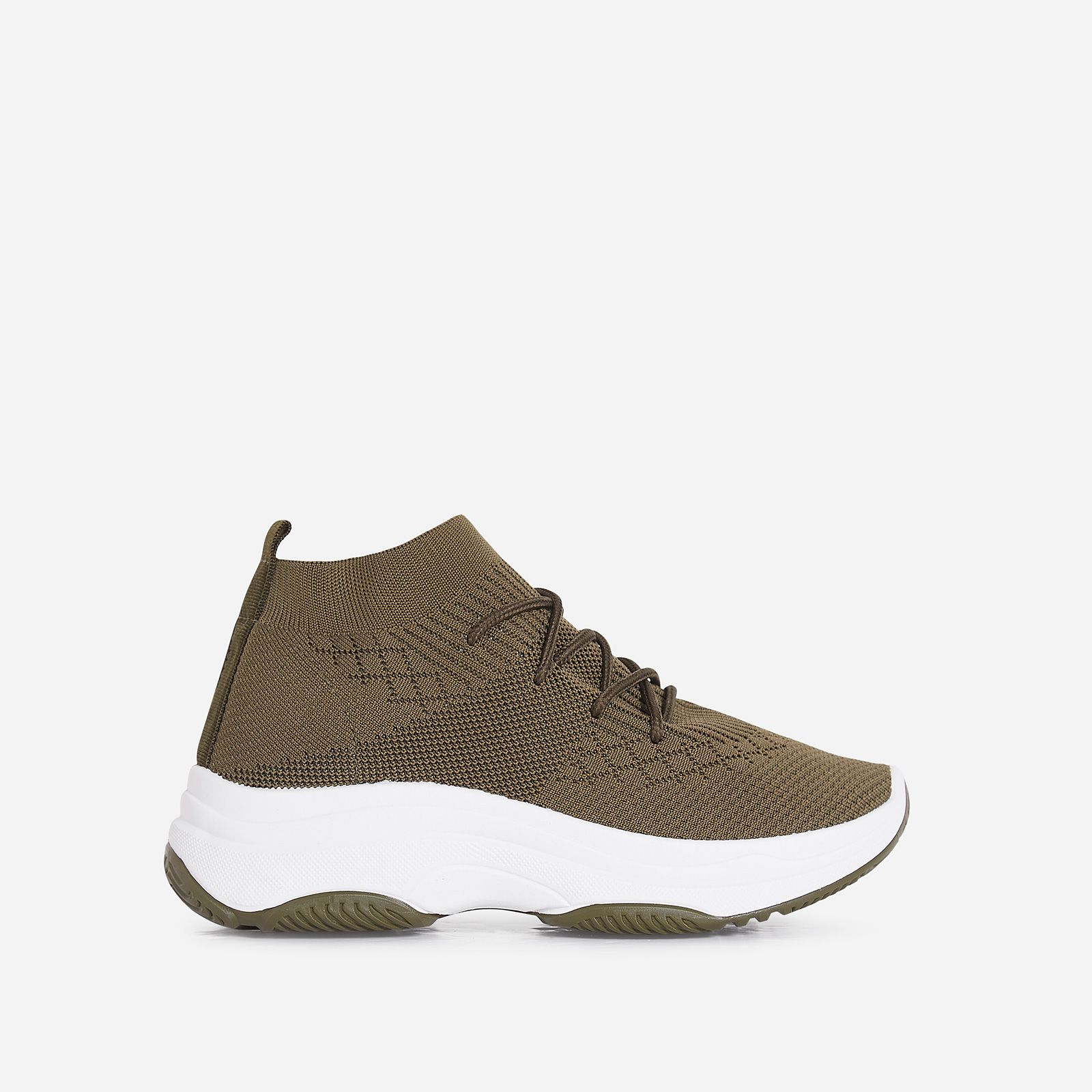 Dallas Chunky Sole Trainer In Khaki Knit