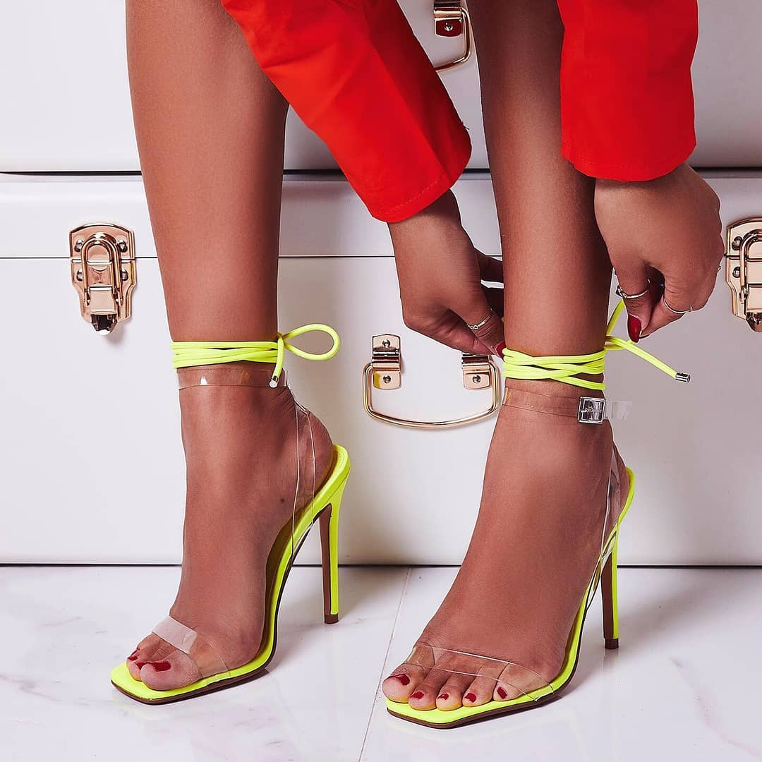 Double Square Toe Perspex Lace Up Heel In Lime Green Faux Leather