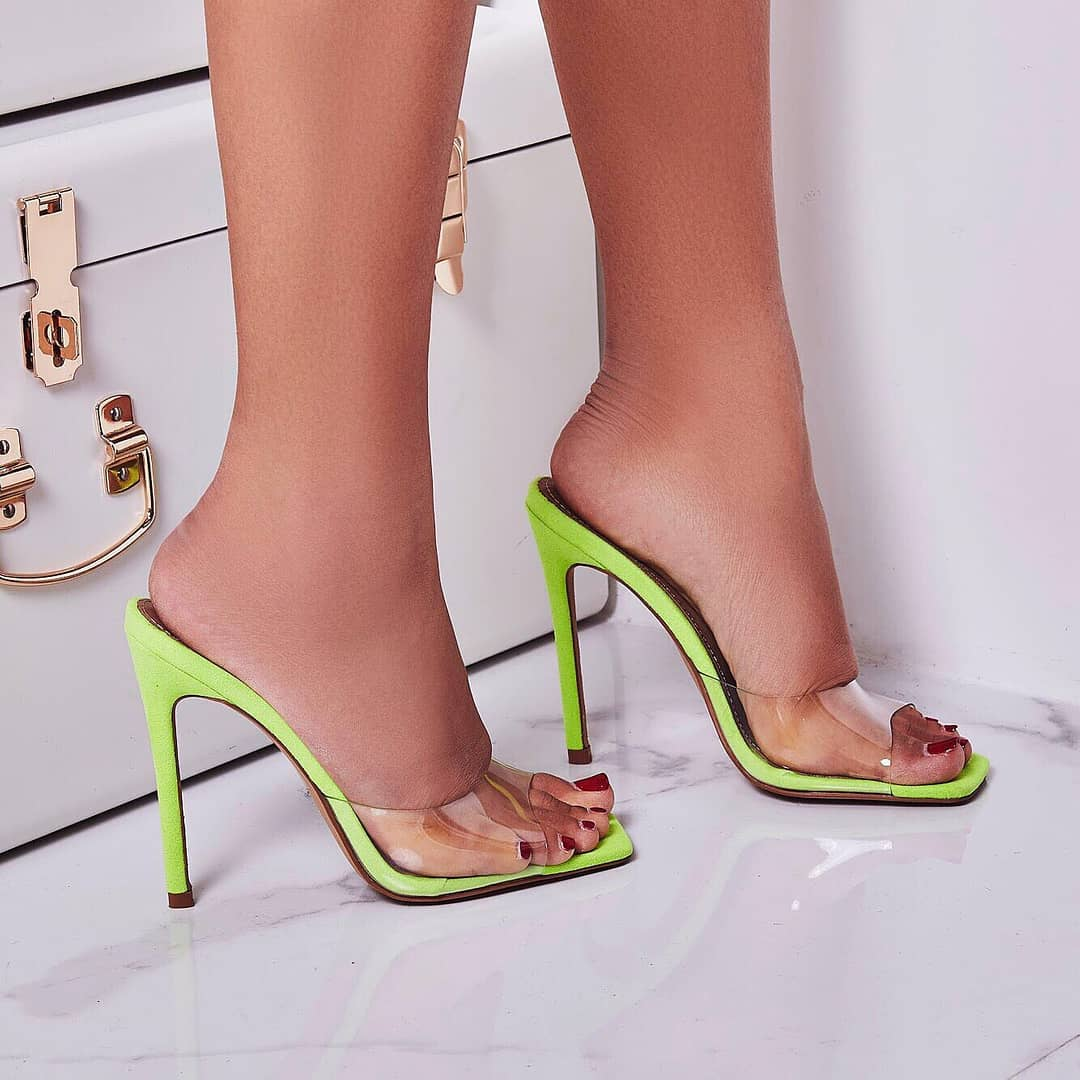 Cyan Square Toe Perspex Peep Toe Mule In Lime Green Faux Suede