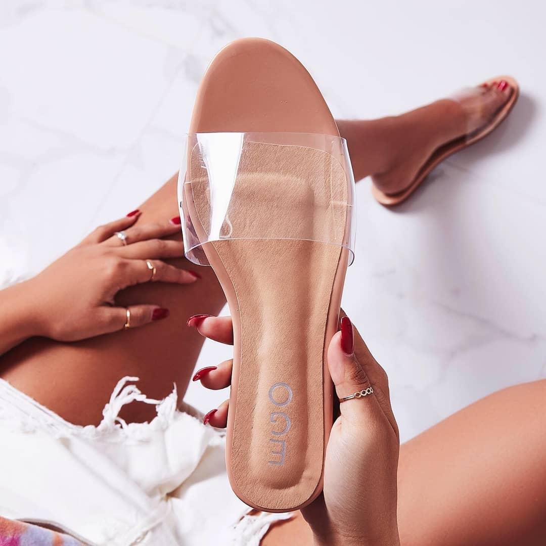 Kerrie Perspex Sandal In Nude Patent