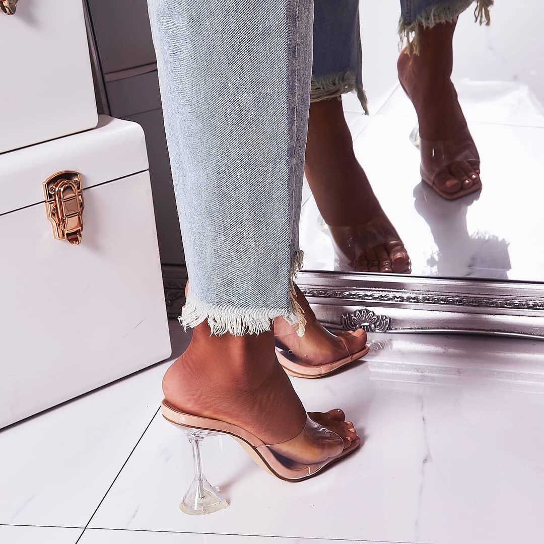 Lila Square Toe Perspex Heel Mule In Nude Patent